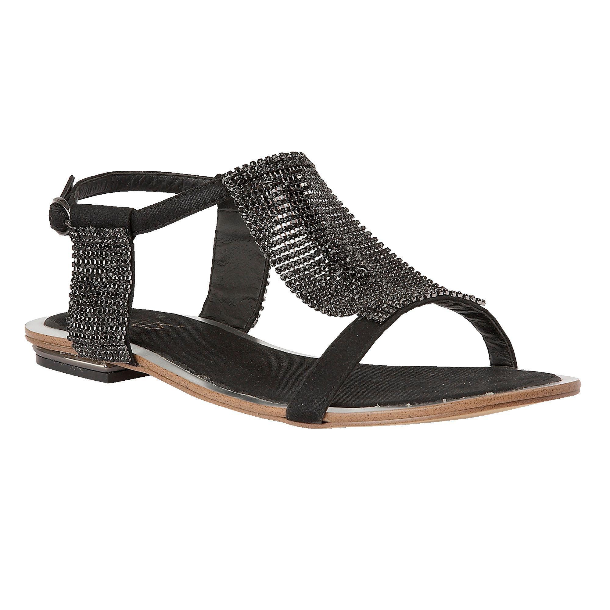 4eae9cda3087 Lotus Black Diamante 'agnetha' T-bar Sandals in Black - Lyst