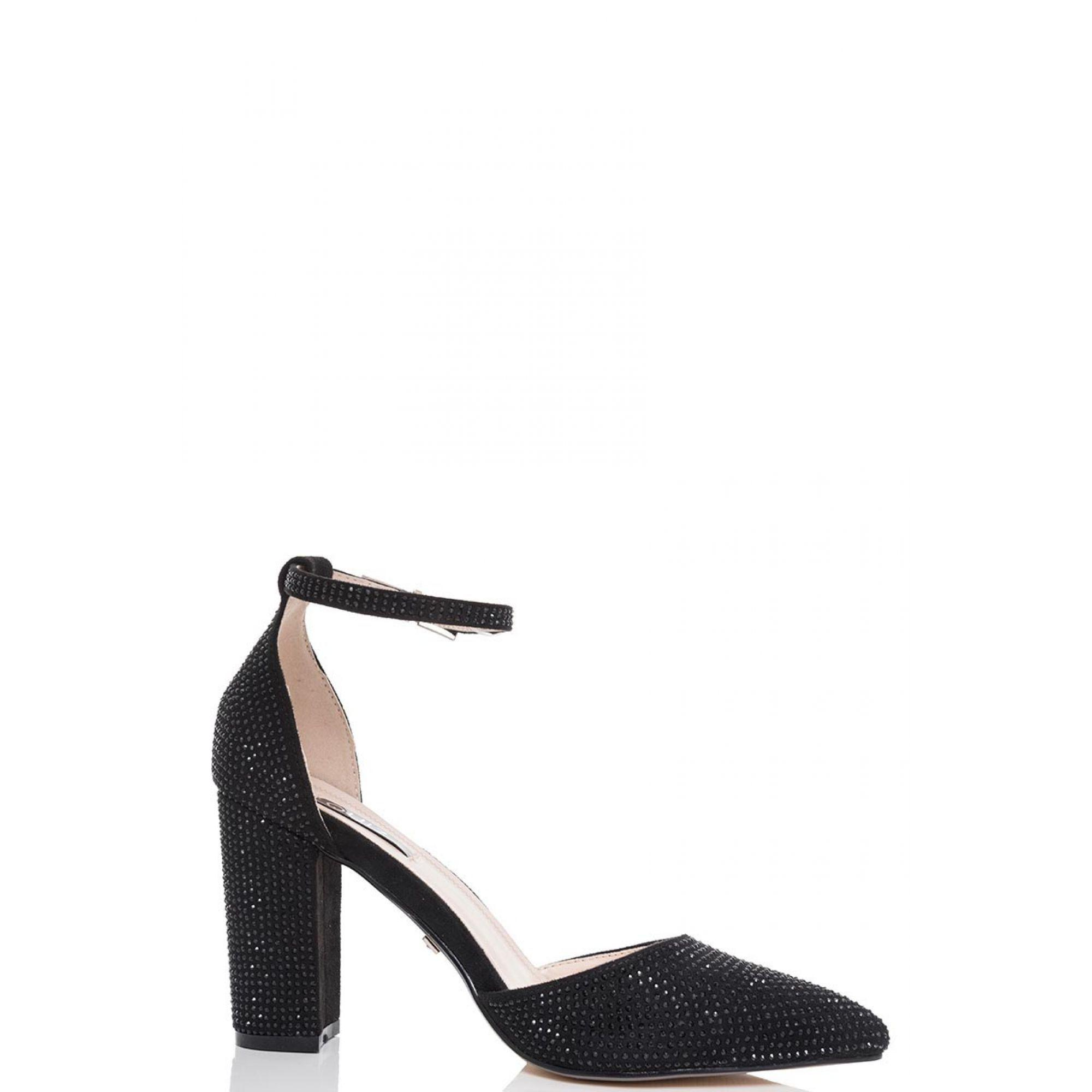 Black diamante pointed toe courts