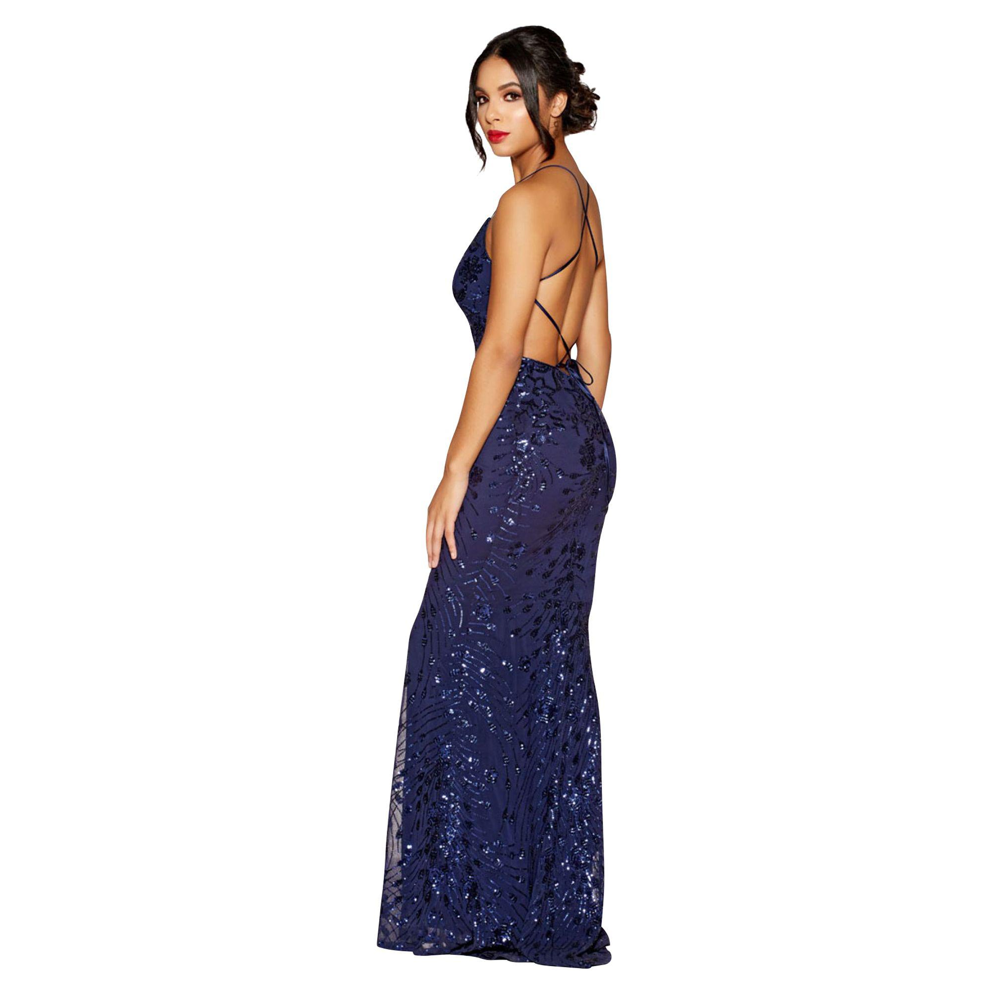 f7e94ee2 Quiz - Blue Navy Sequin Cross Back Fishtail Maxi Dress - Lyst. View  fullscreen