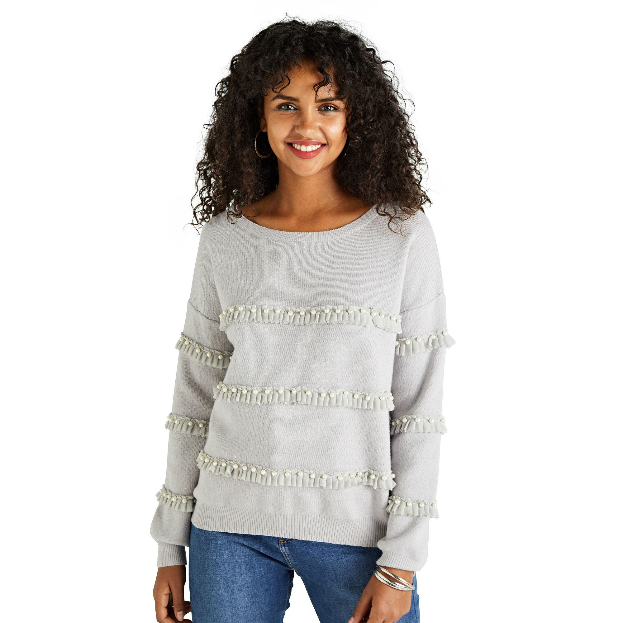96fbb88ced1726 Yumi' Light Grey Pearl And Ruffle Embellished Jumper in Gray - Lyst