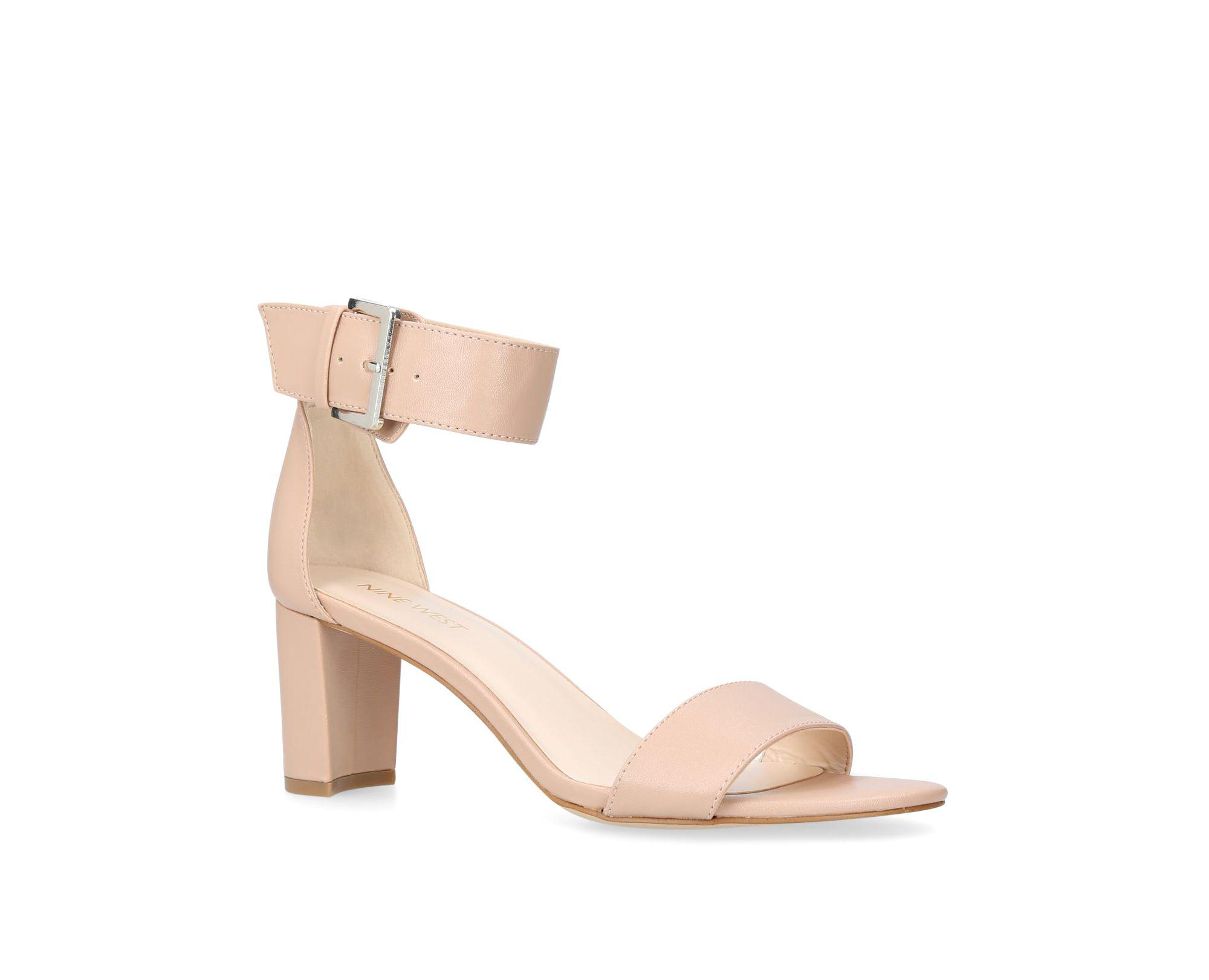 84187ae28160 Nine West Nude  playdown  Mid Heel Sandals in Natural - Save 44% - Lyst