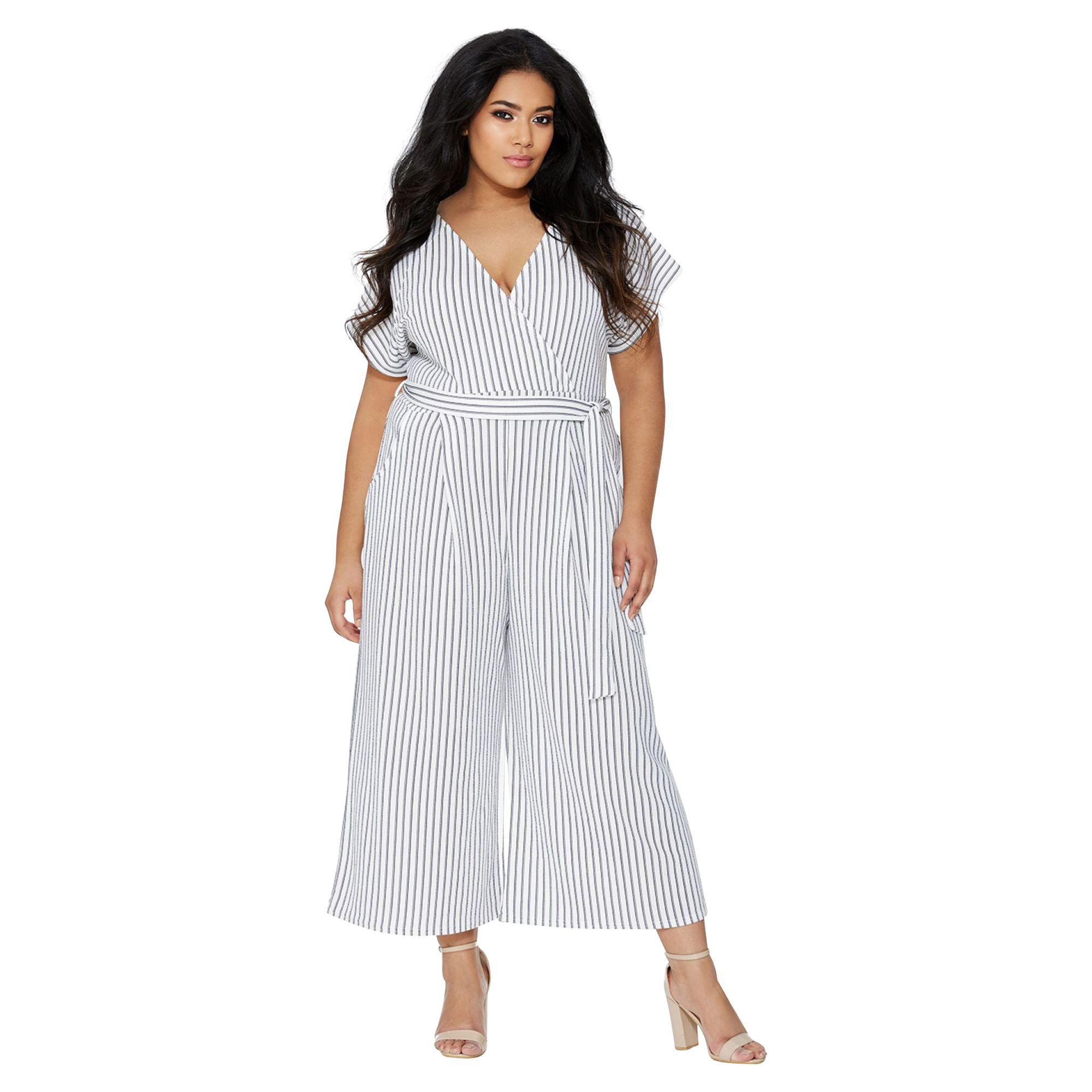 3c01b0e7a561 Quiz Curve Cream And Navy Stripe Wrap Jumpsuit in Blue - Lyst
