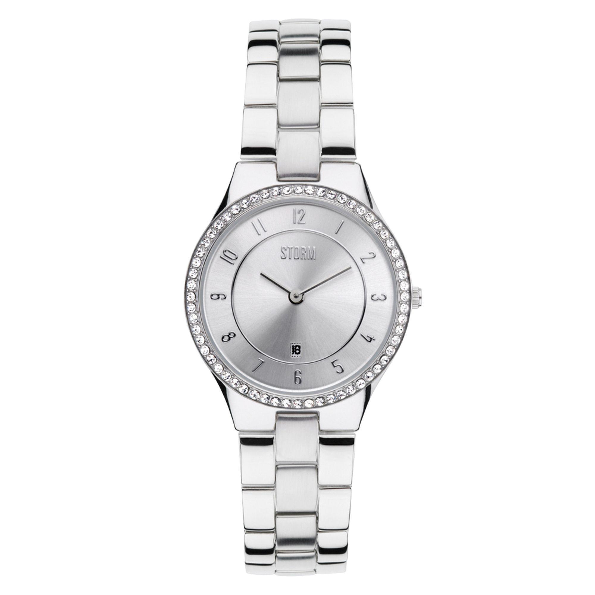 48a2542a598a7 ... Silver Round Dial Swarovski Crystal Watch Slim X Crystal - Lyst. View  fullscreen