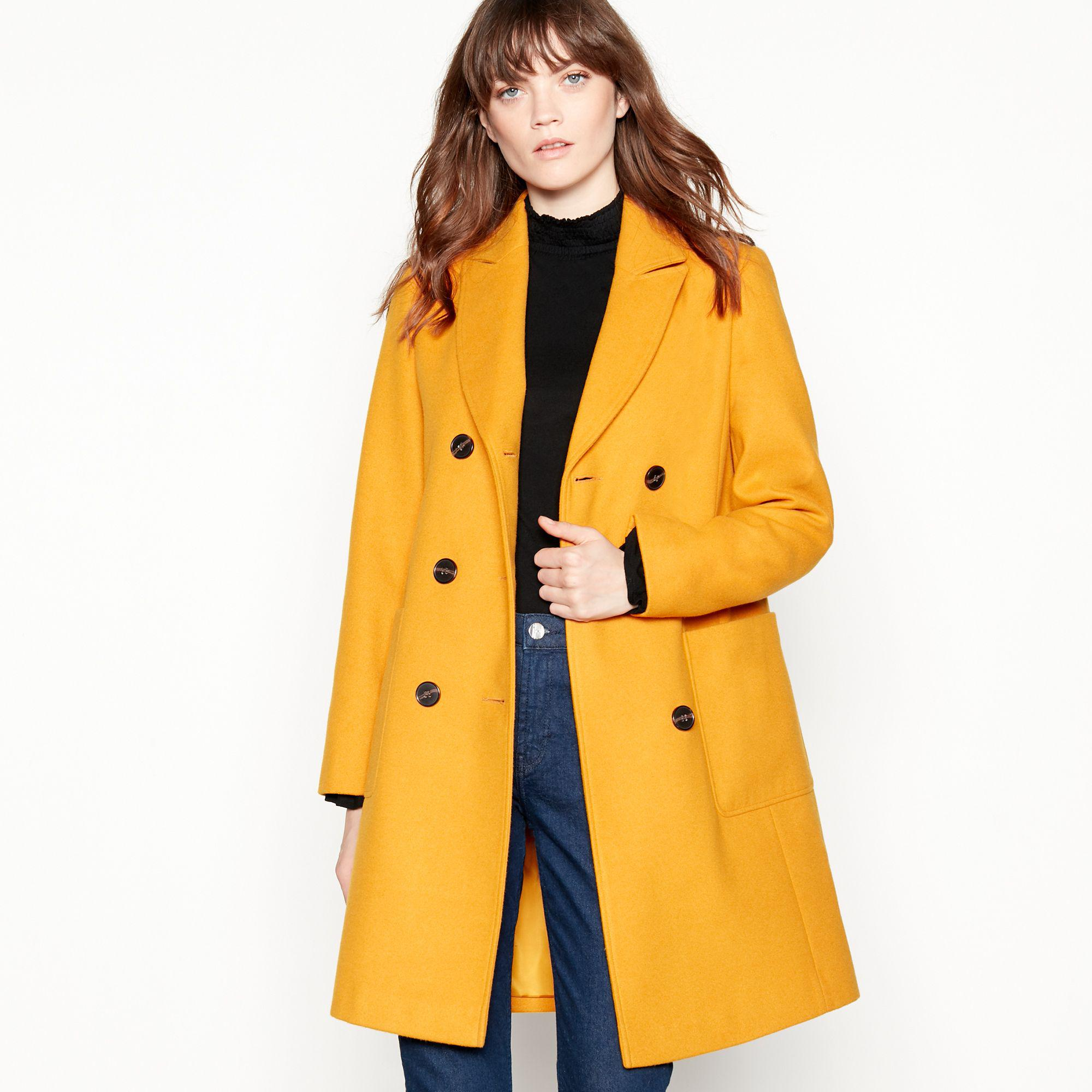 b5d89272c246 Red Herring Yellow Utility Double Breasted Coat in Yellow - Lyst