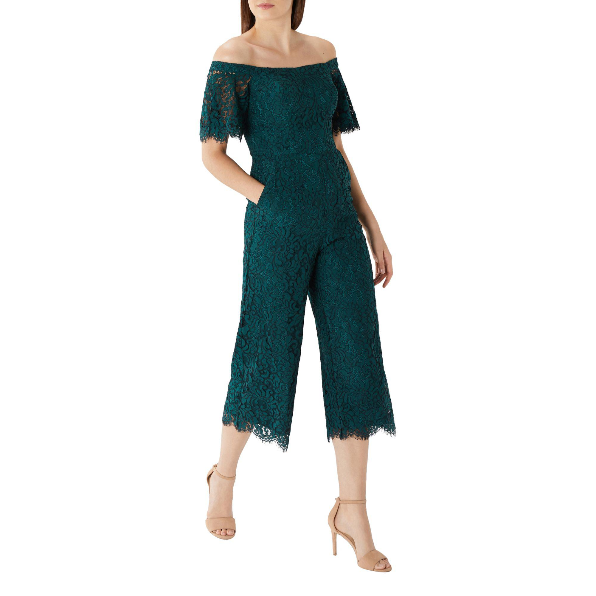 1eafbffc86 Coast Forest Green  rosita  Bardot Lace Jumpsuit in Green - Save 51 ...