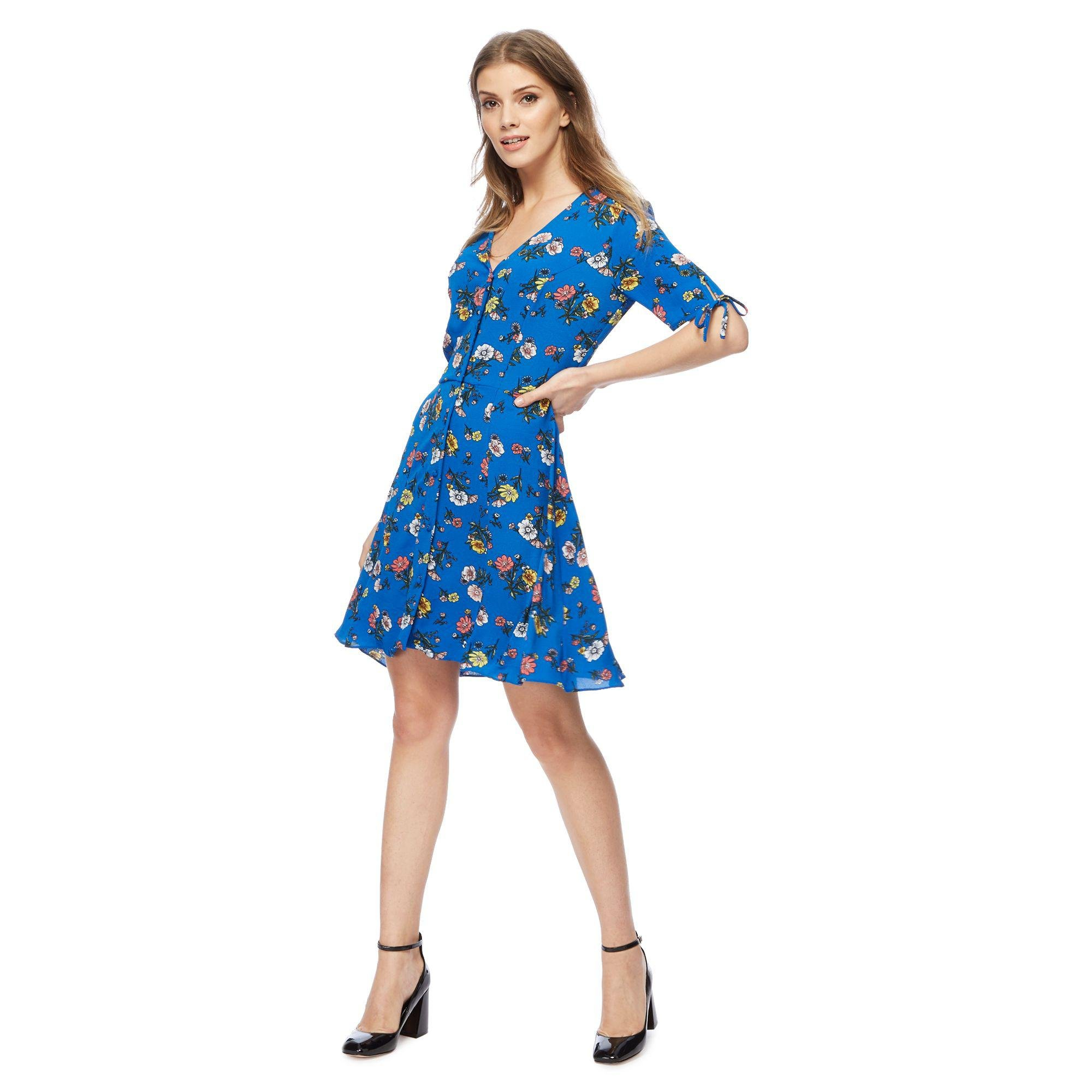 d6021f7774 Red Herring Blue Floral Print  madeline  V-neck Mini Tea Dress in ...