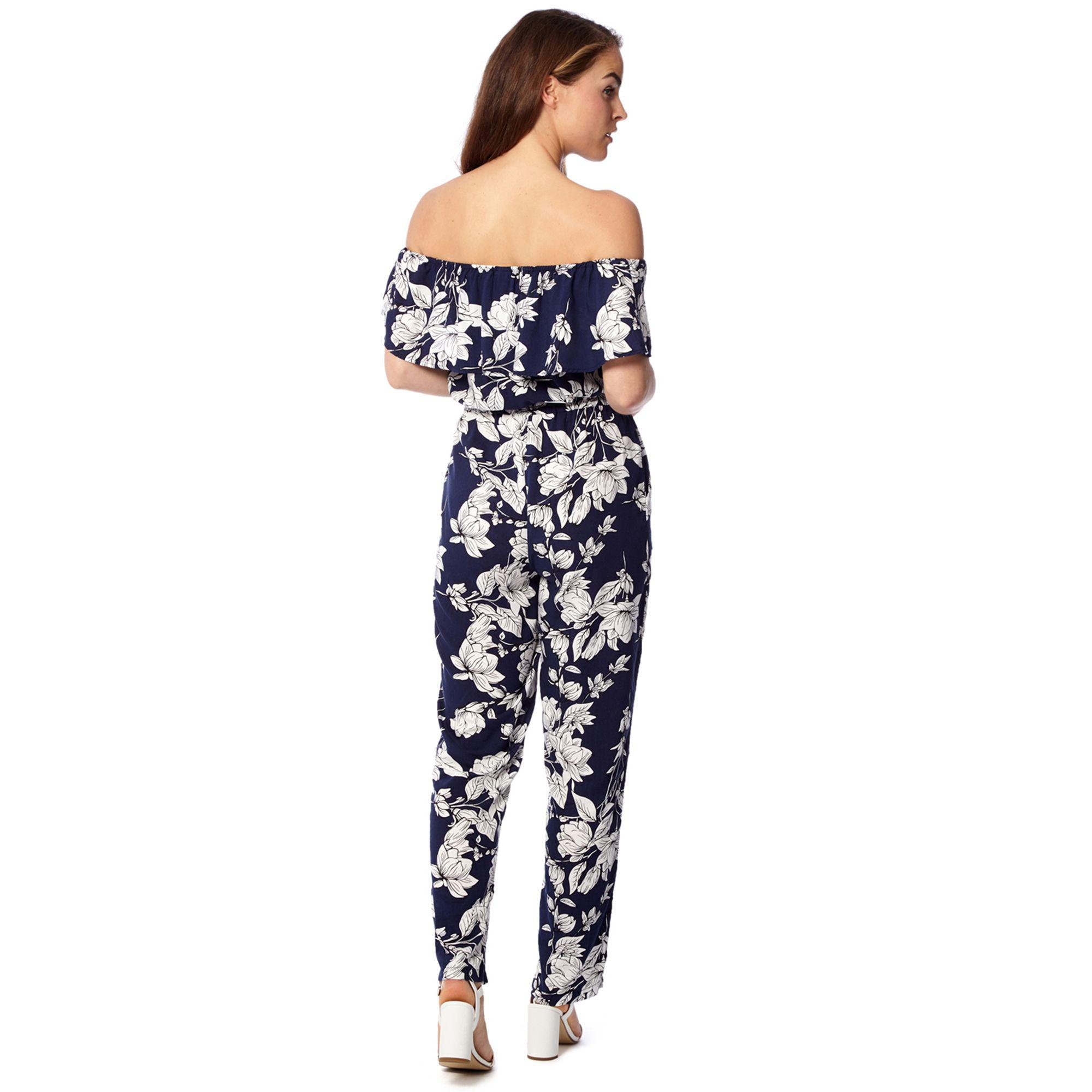 baa32094ea9b Izabel London Navy Floral Print Bardot Jumpsuit in Blue - Lyst