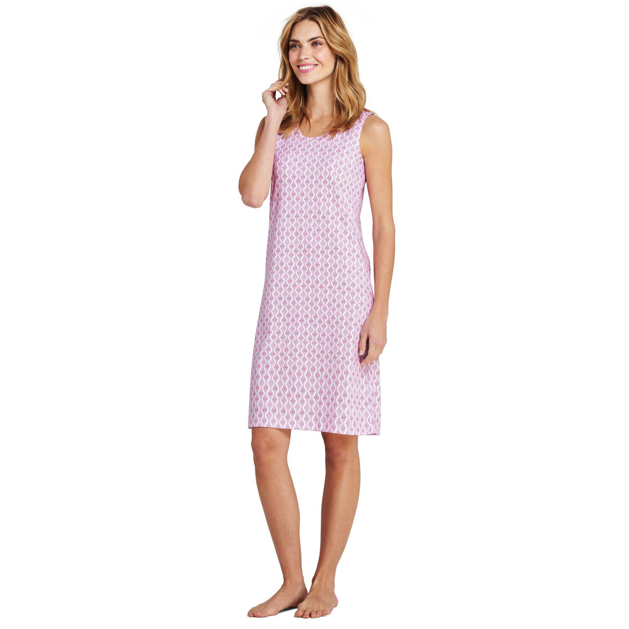 ab1339dd2f2 Lands  End Pink Womens Supima Sleevesless Patterned Nightdress in ...