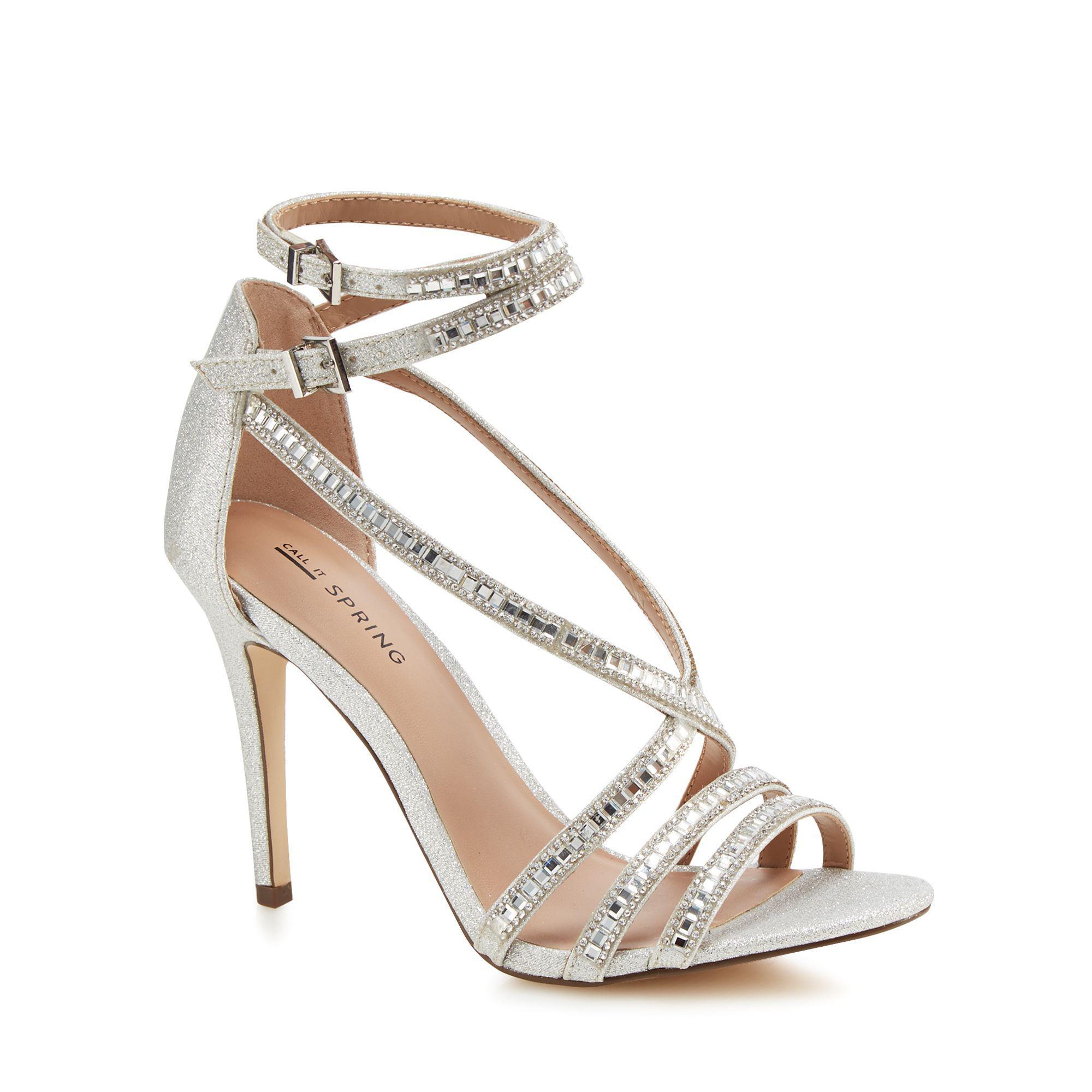 Silver glitter 'Gaffigan' high stiletto heel ankle strap sandals 100% original for sale NcxeAaP7X
