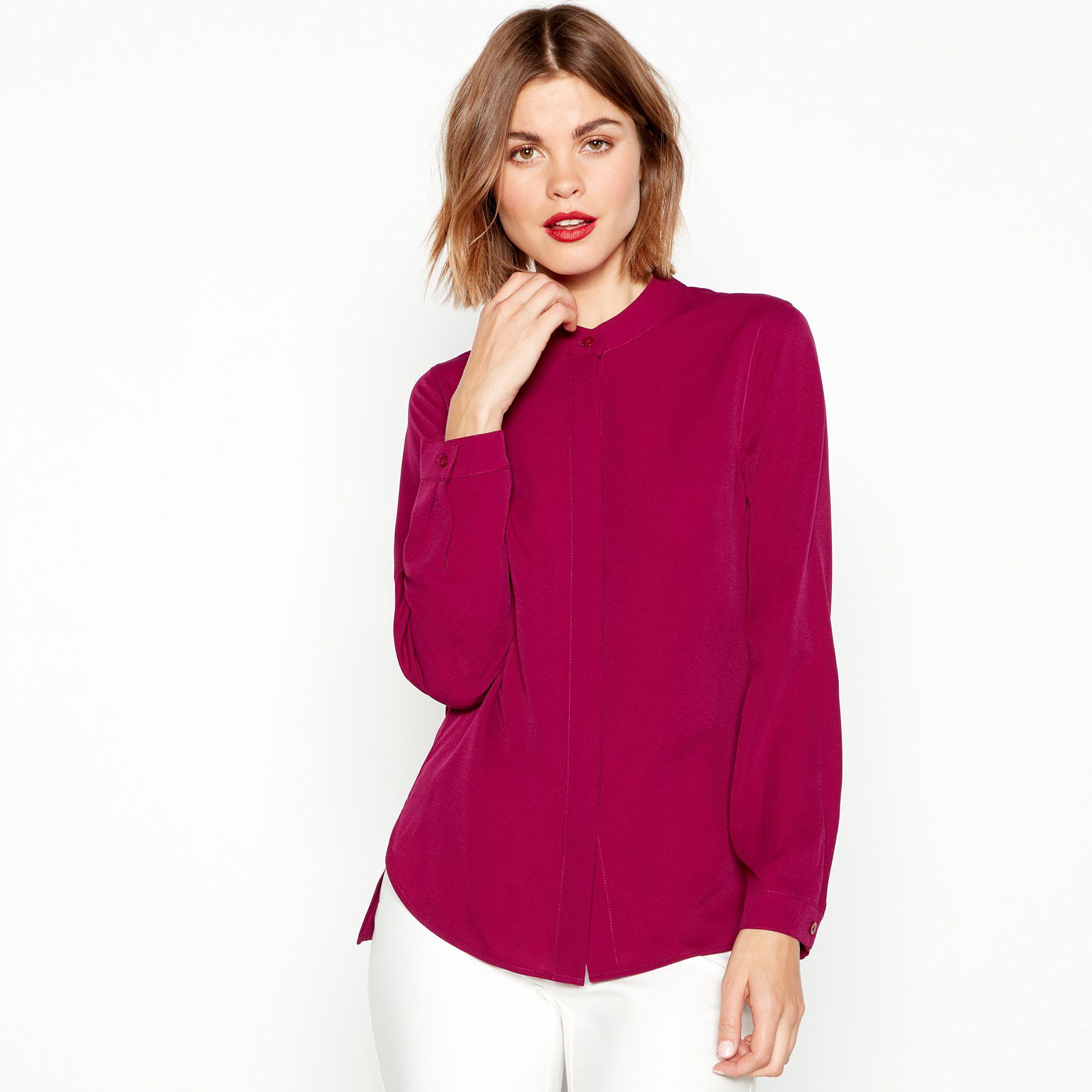 ce3502d6b144a5 J By Jasper Conran Dark Pink Chiffon Grandad Shirt in Pink - Lyst
