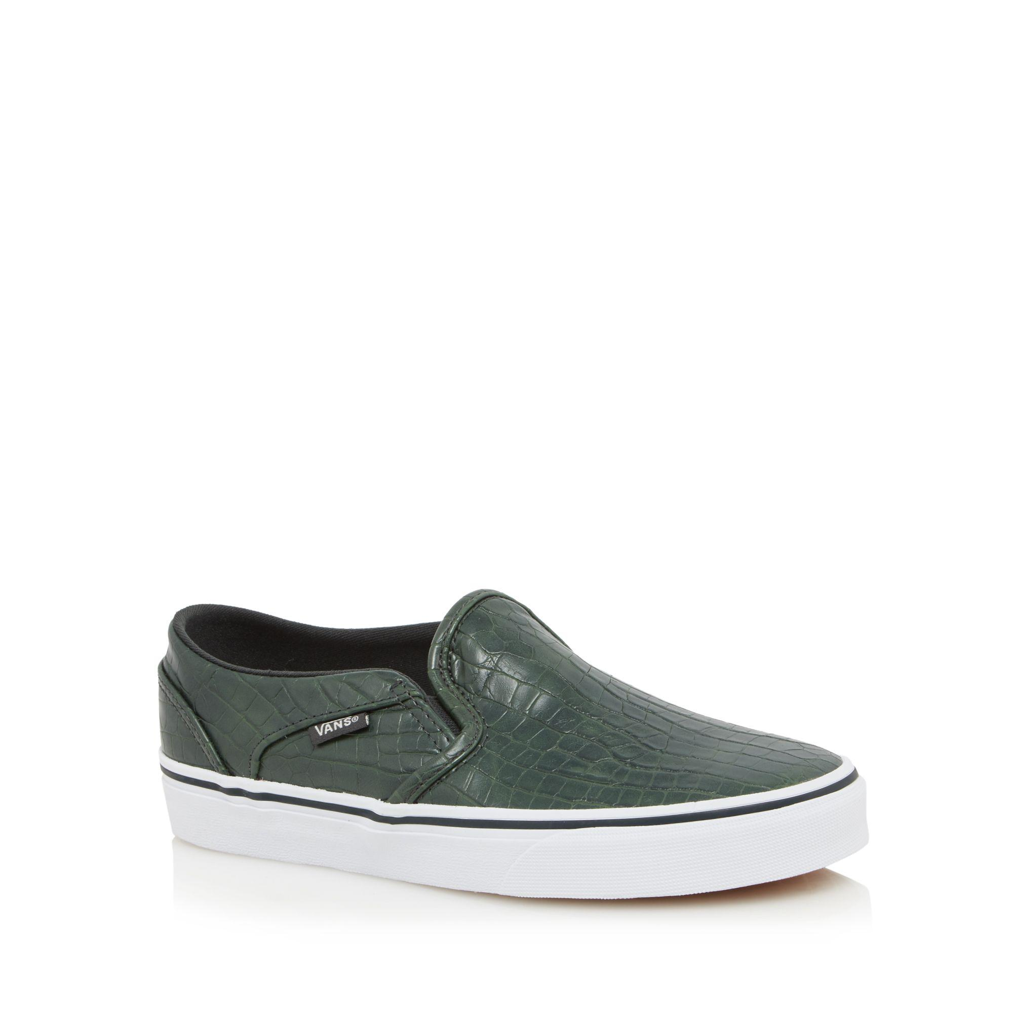 e3510becff Vans Dark Green Faux Croc Textured  asher  Trainers in Green - Lyst