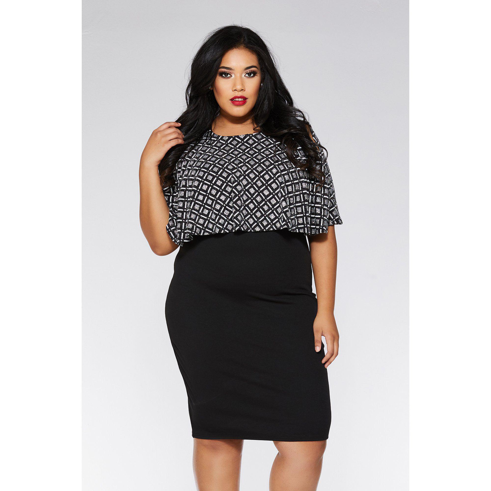 a5d2382354 Quiz Curve Black And Silver Square Design Midi Dress in Black - Save ...