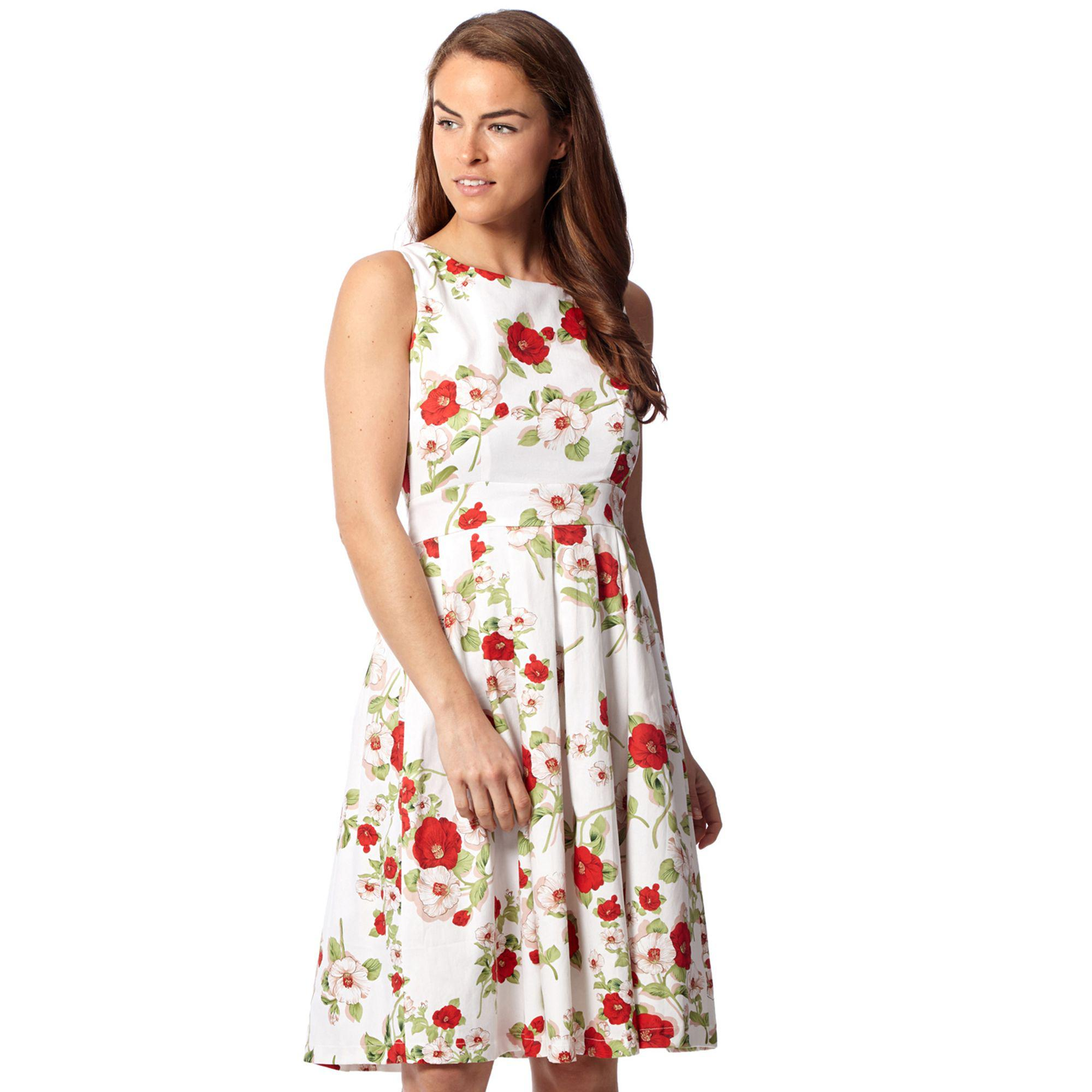 36ac41d1cf7 Izabel London White Floral Sleeveless Fit And Flare Dress in White ...