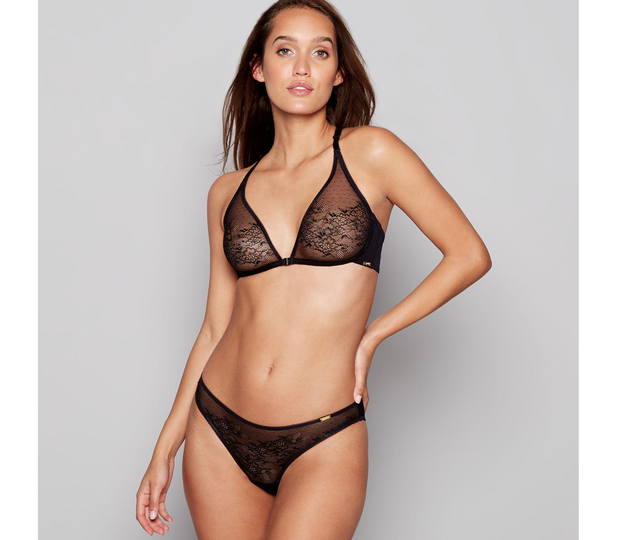 f92472def20a9 Gossard - Black Lace Non-wired Non-padded Triangle Bra - Lyst. View  fullscreen