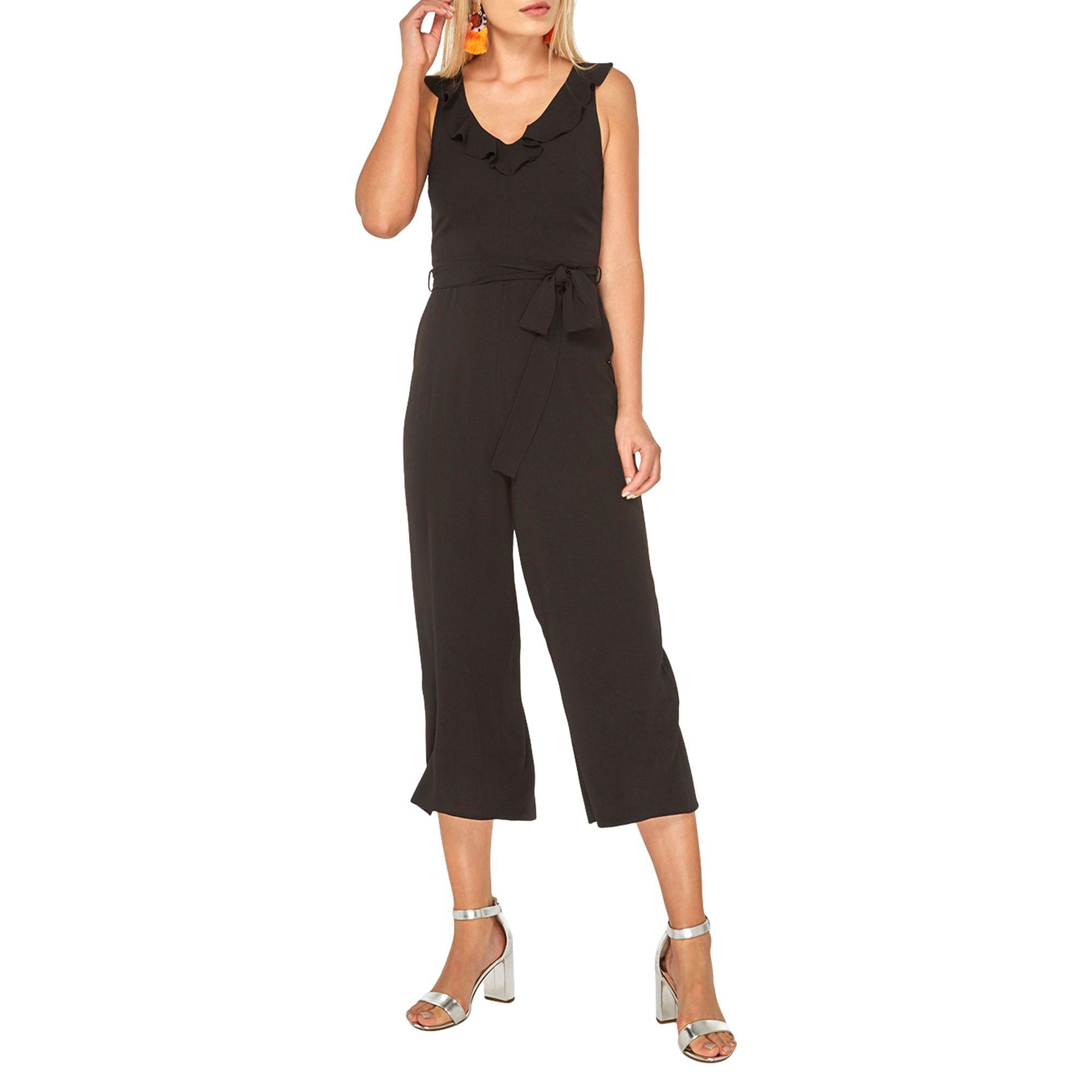 1d63e4f860 Dorothy Perkins Black Ruffle Strap Culottes Jumpsuit in Black - Lyst