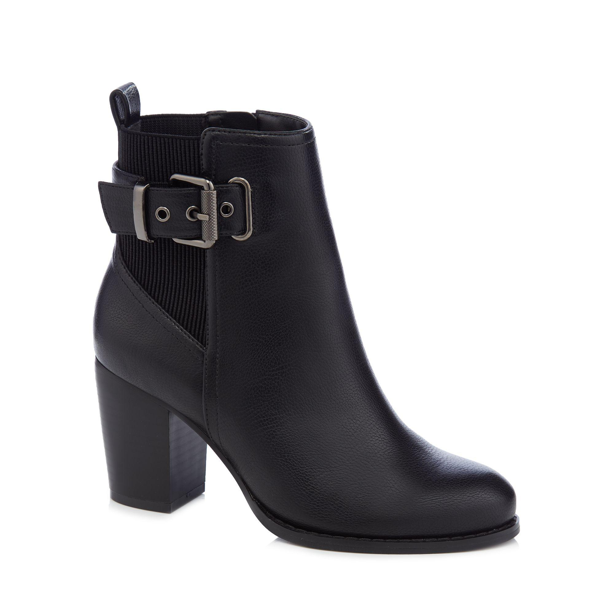 f51734e11b Faith - Black Faux Leather 'wand' High Block Heel Wide Fit Ankle Boots -.  View fullscreen