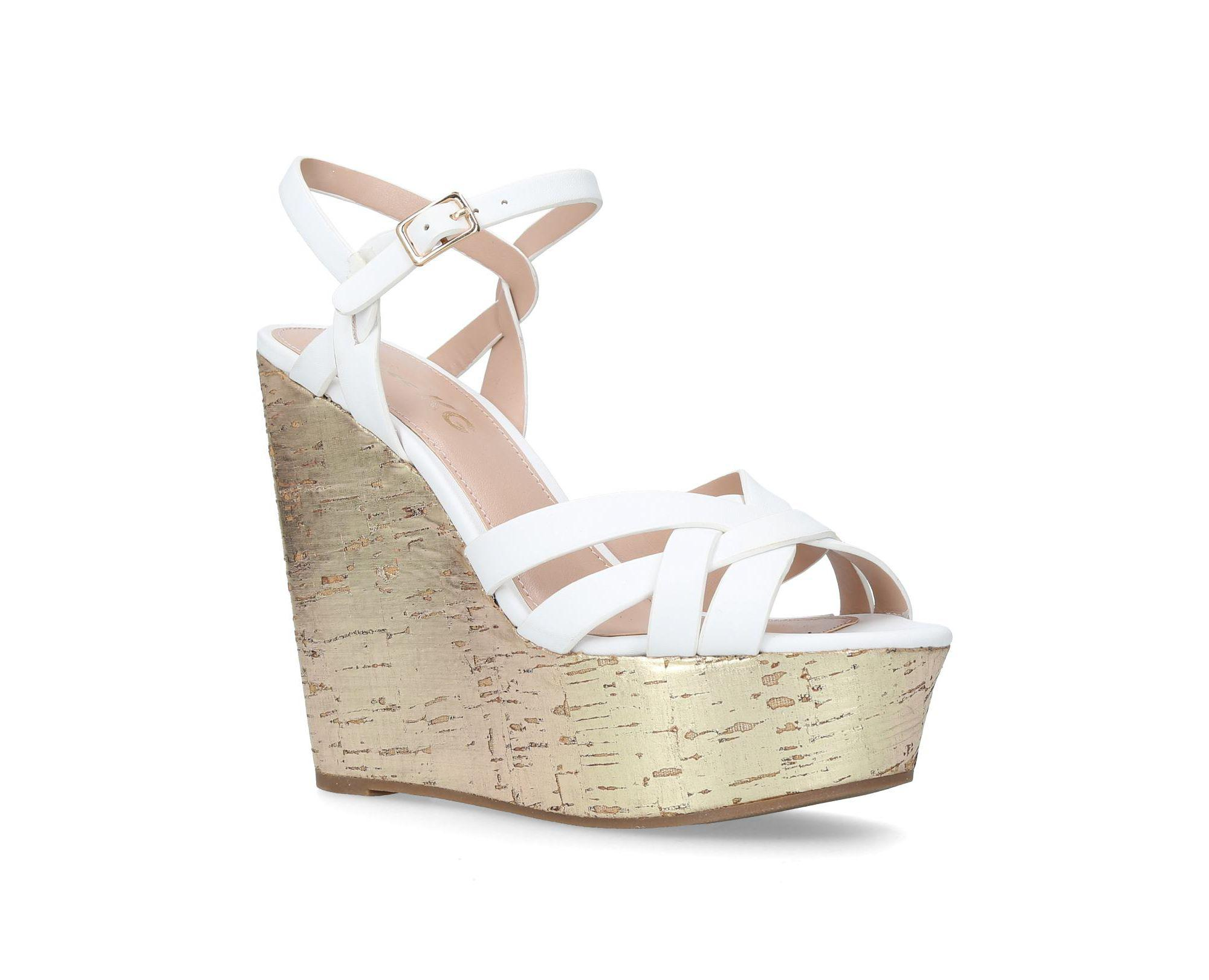 2a7609dce482 Miss Kg White  flame  High Heel Wedge Sandals in White - Lyst
