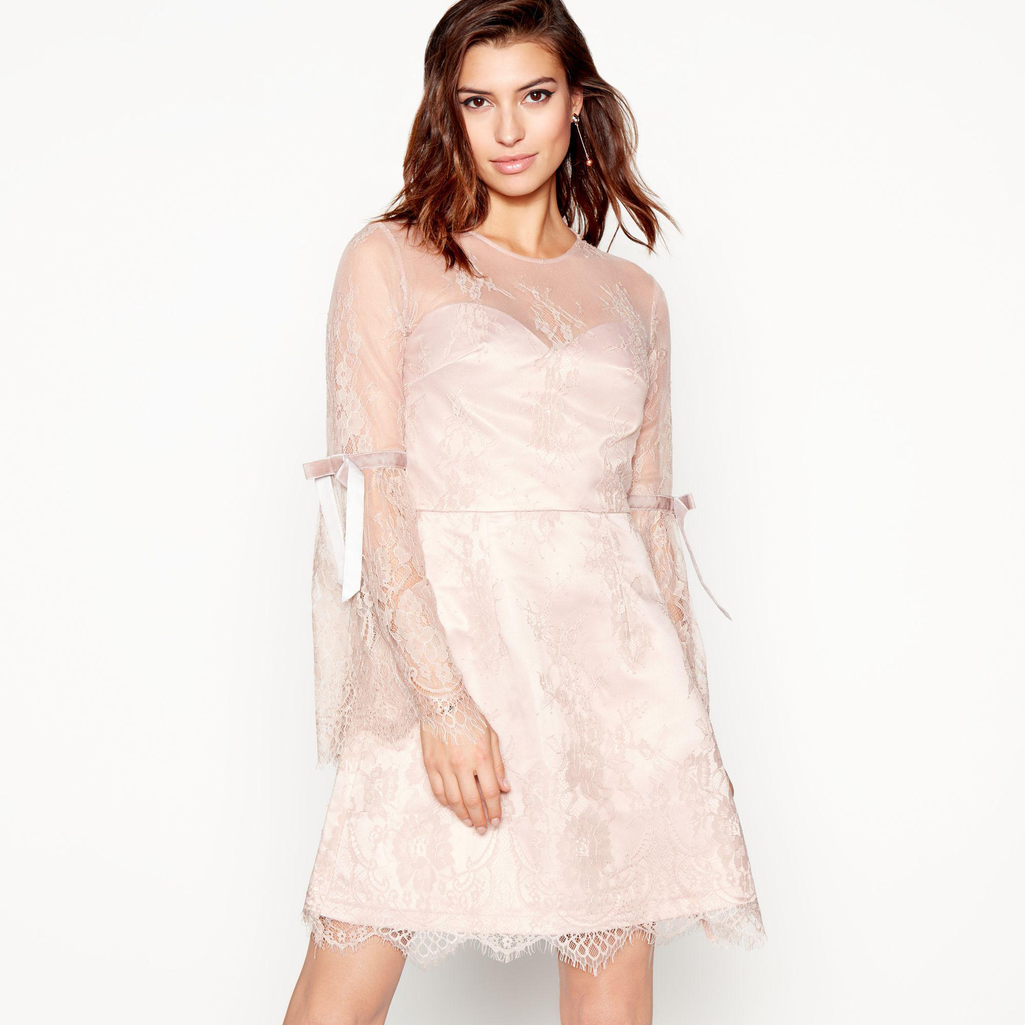 10b9a44103 Lipsy Light Pink Lace  letitia  Long Sleeves Mini Dress in Pink - Lyst