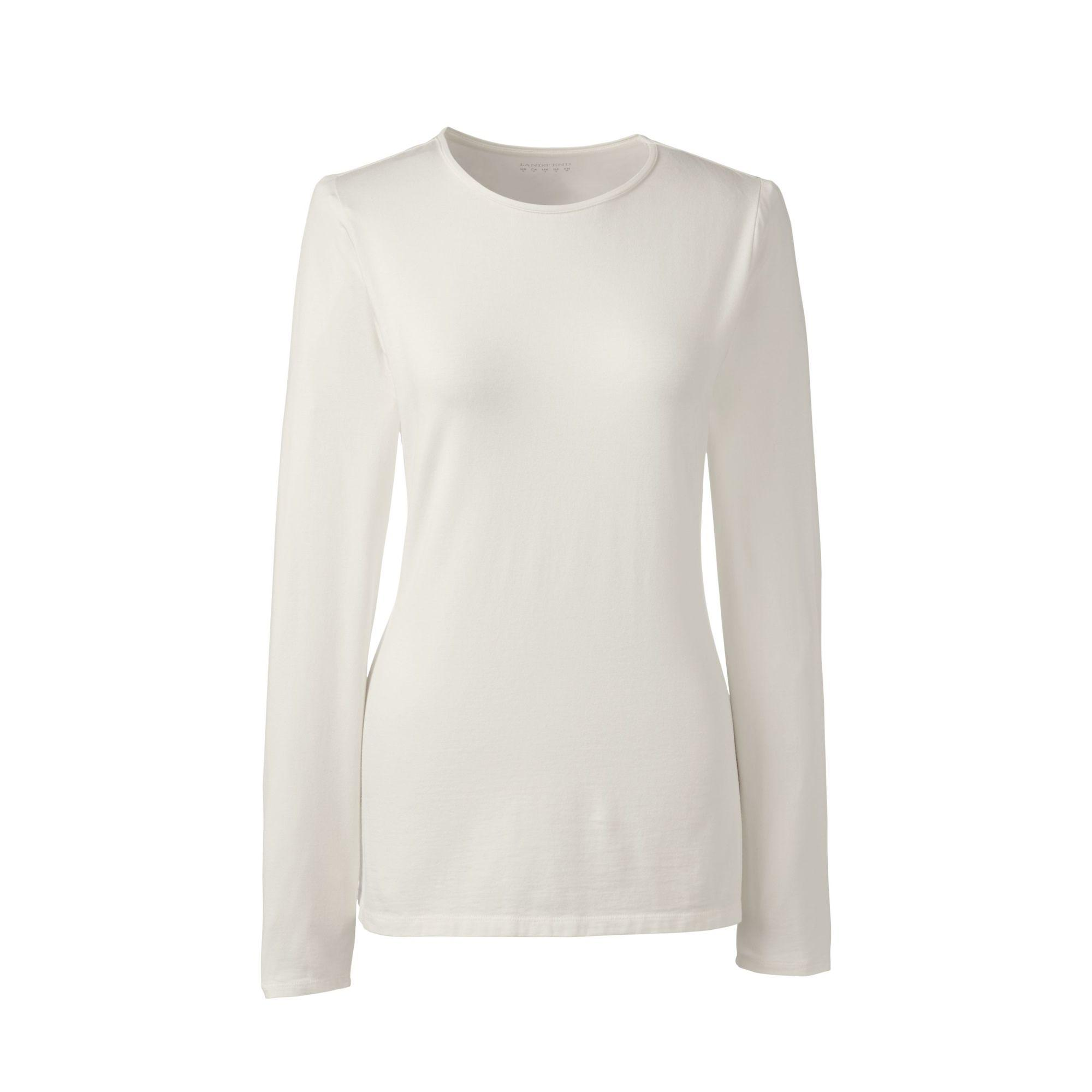 f7f92b7027ddf Lands  End Cream Long Sleeve Cotton modal Crew Neck Tee in White - Lyst