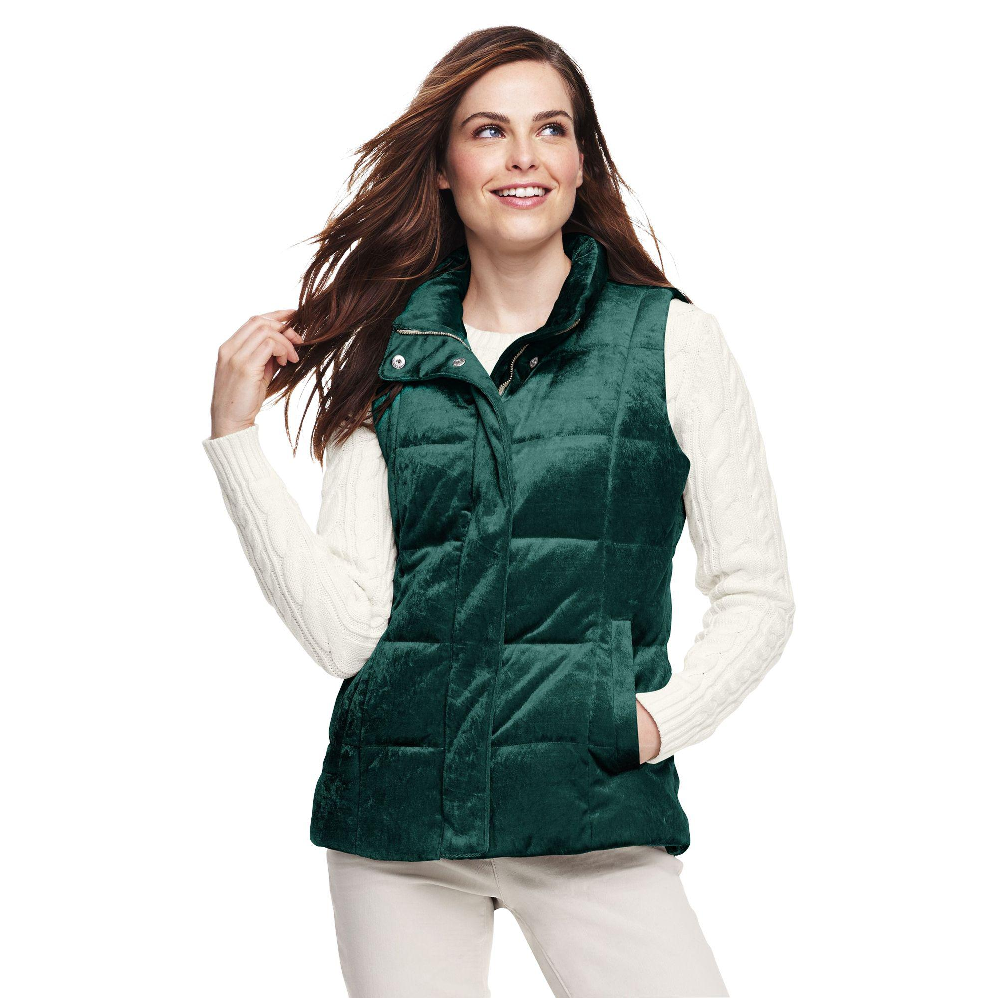 d4350375bed8 Lands' End Green Petite Velour Gilet in Green - Lyst