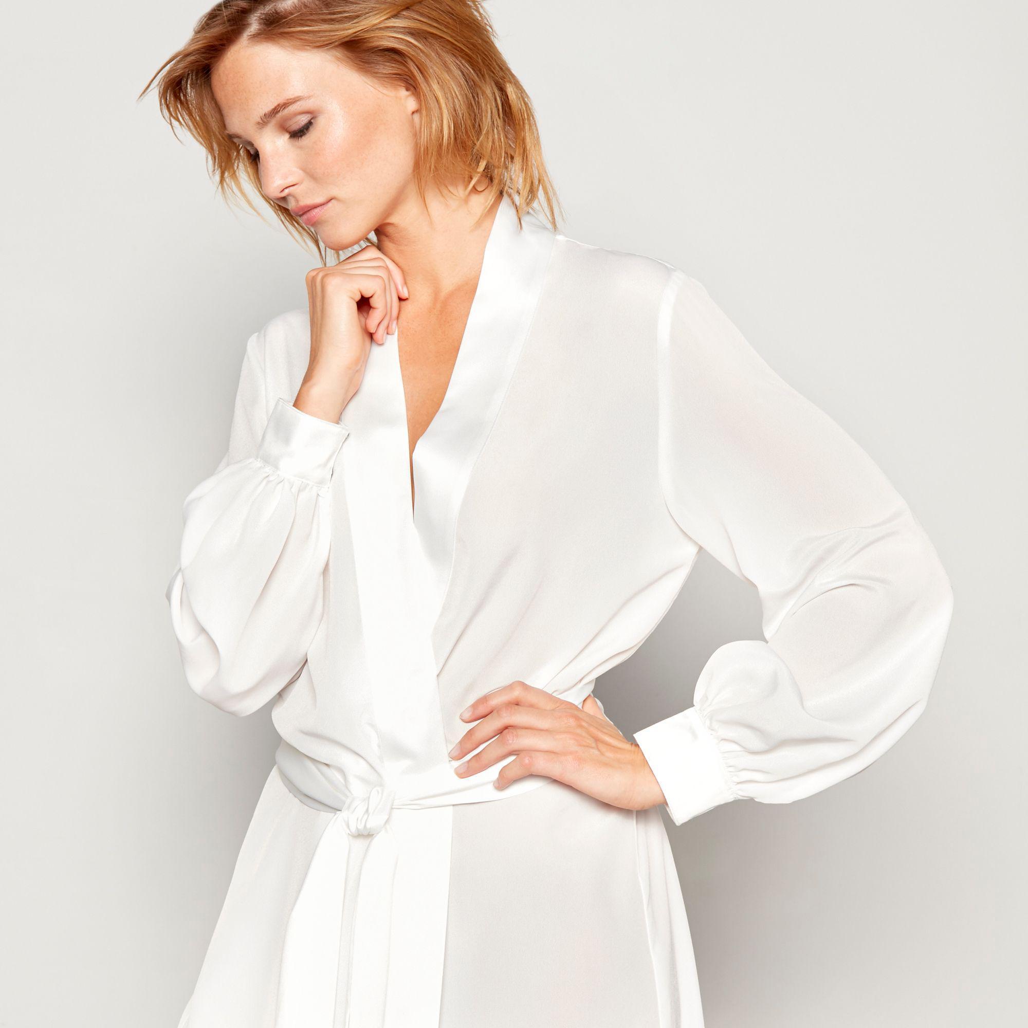 940f27f763 ... White Ivory Bridal Chiffon Satin Dressing Gown - Lyst. View fullscreen