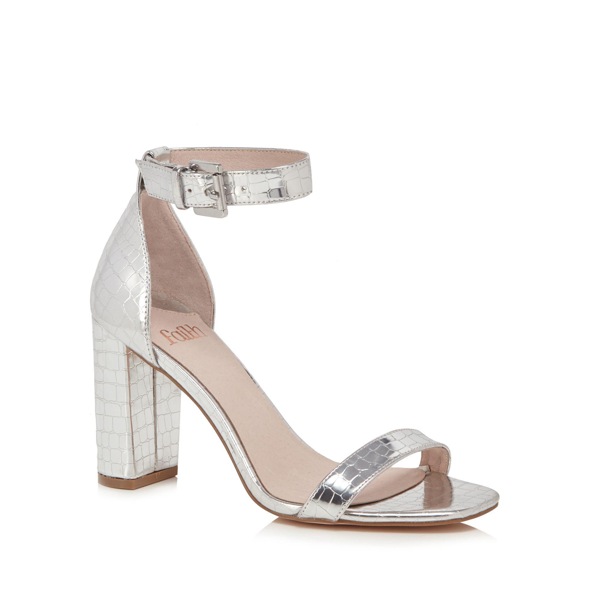 20c1bb11d2fb Faith Silver  dorita  High Block Heel Ankle Strap Sandals in ...