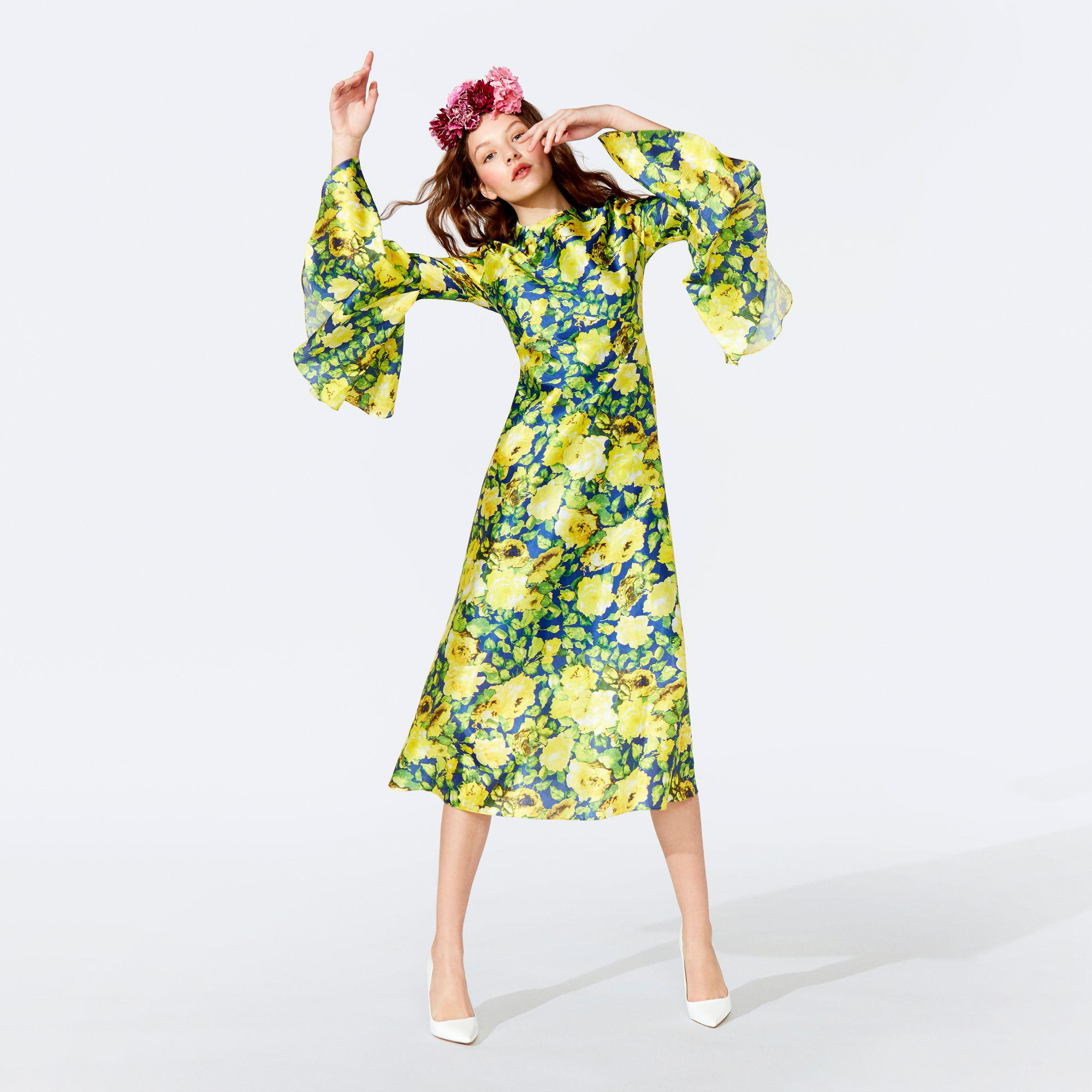 55e03ef64f6e95 Richard Quinn. Women s Yellow Floral Print Round Neck Fluted Sleeve Midi  Dress