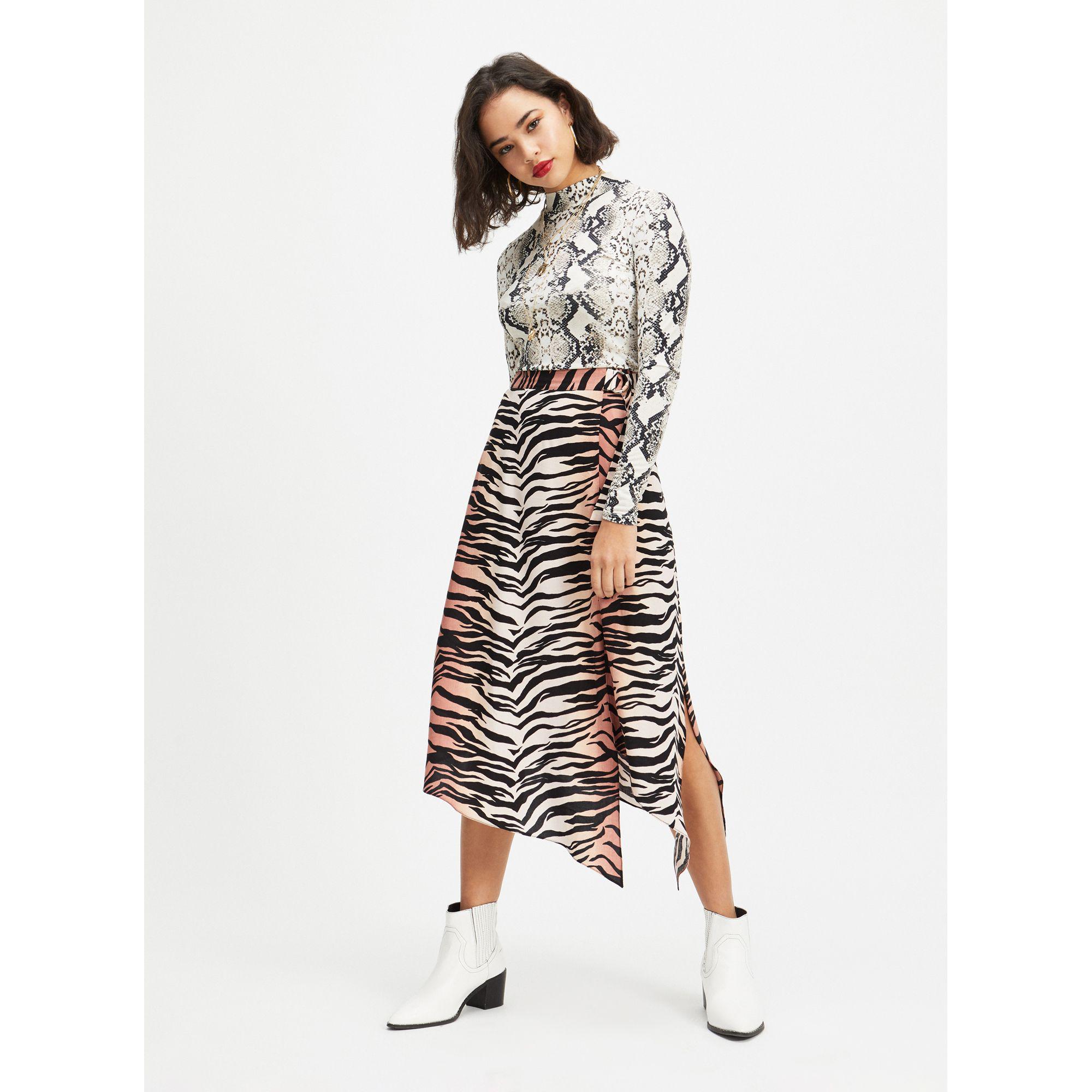 Miss Selfridge. Women s Petite Orange And Black Ombre Tiger Print Midi  Skater Skirt 6de9f50d9