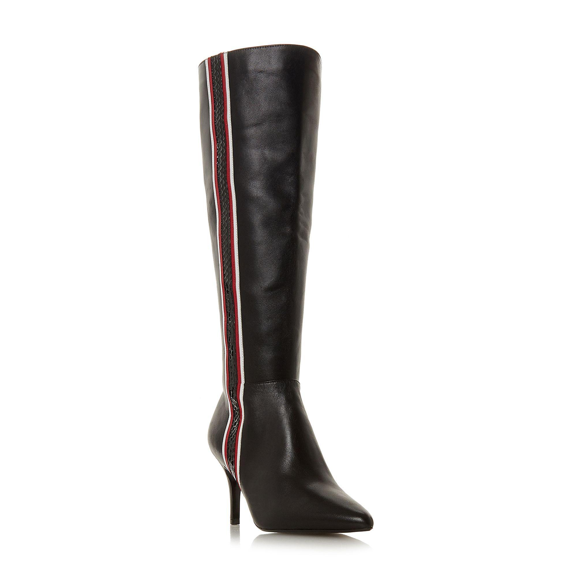 501a7398c84 Dune. Women s Black Leather  siesta  Mid Stiletto Heel Knee High Boots