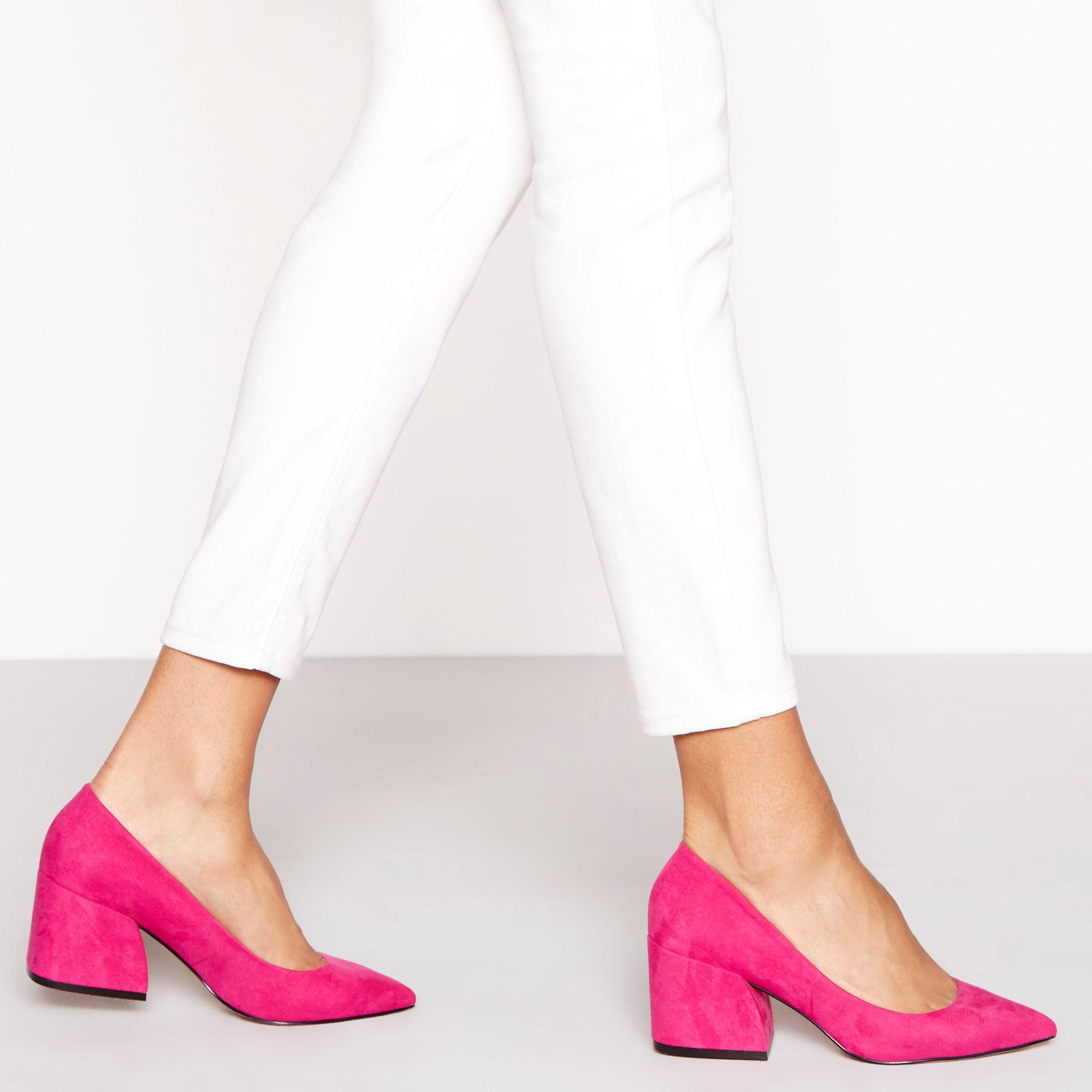b230ea2f4f Faith Pink Suedette 'chase' Mid Block Heel Court Shoes in Pink - Lyst
