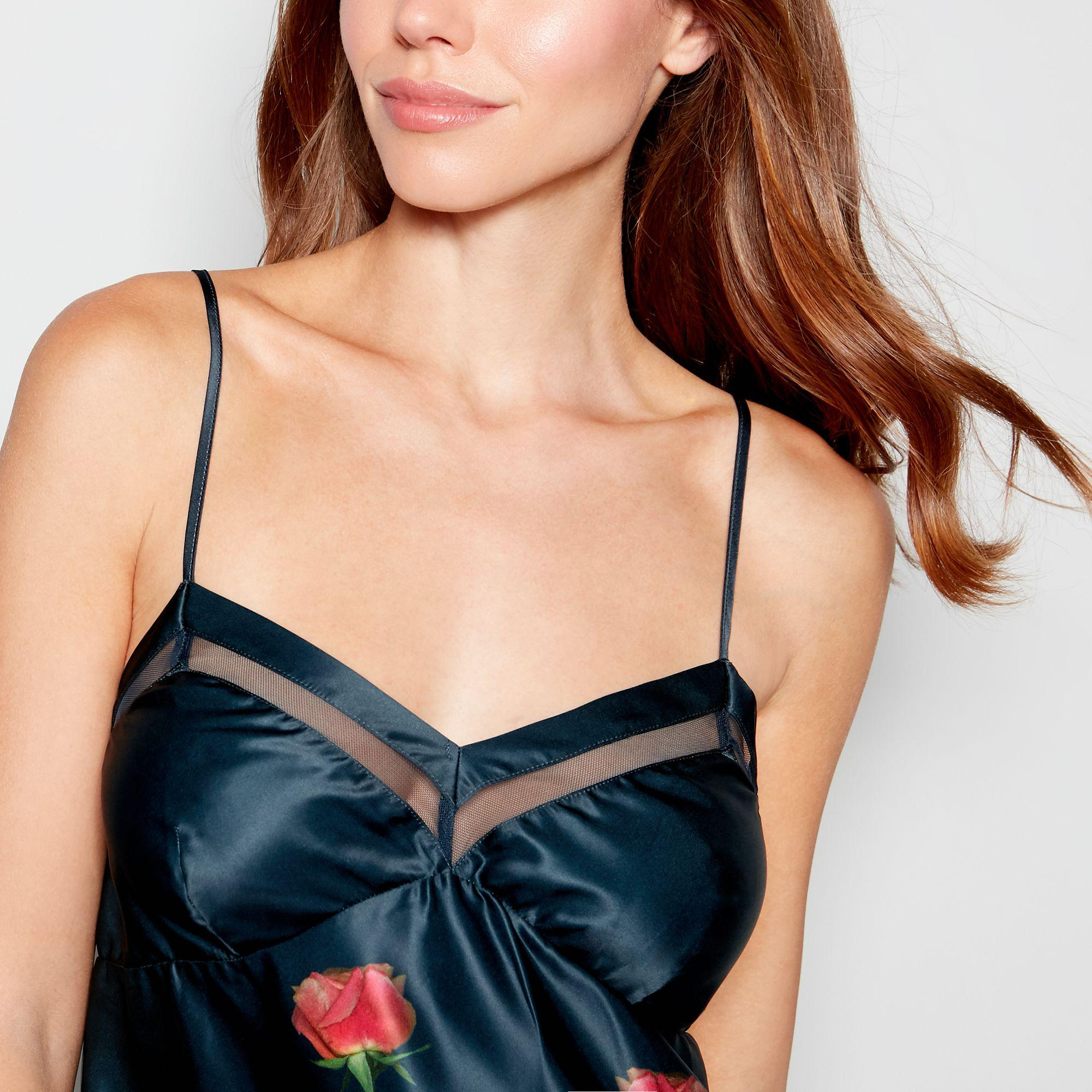 a35a22bbd11a1 Ted Baker - Blue Navy Floral Print Satin  kensington  Camisole Top - Lyst.  View fullscreen
