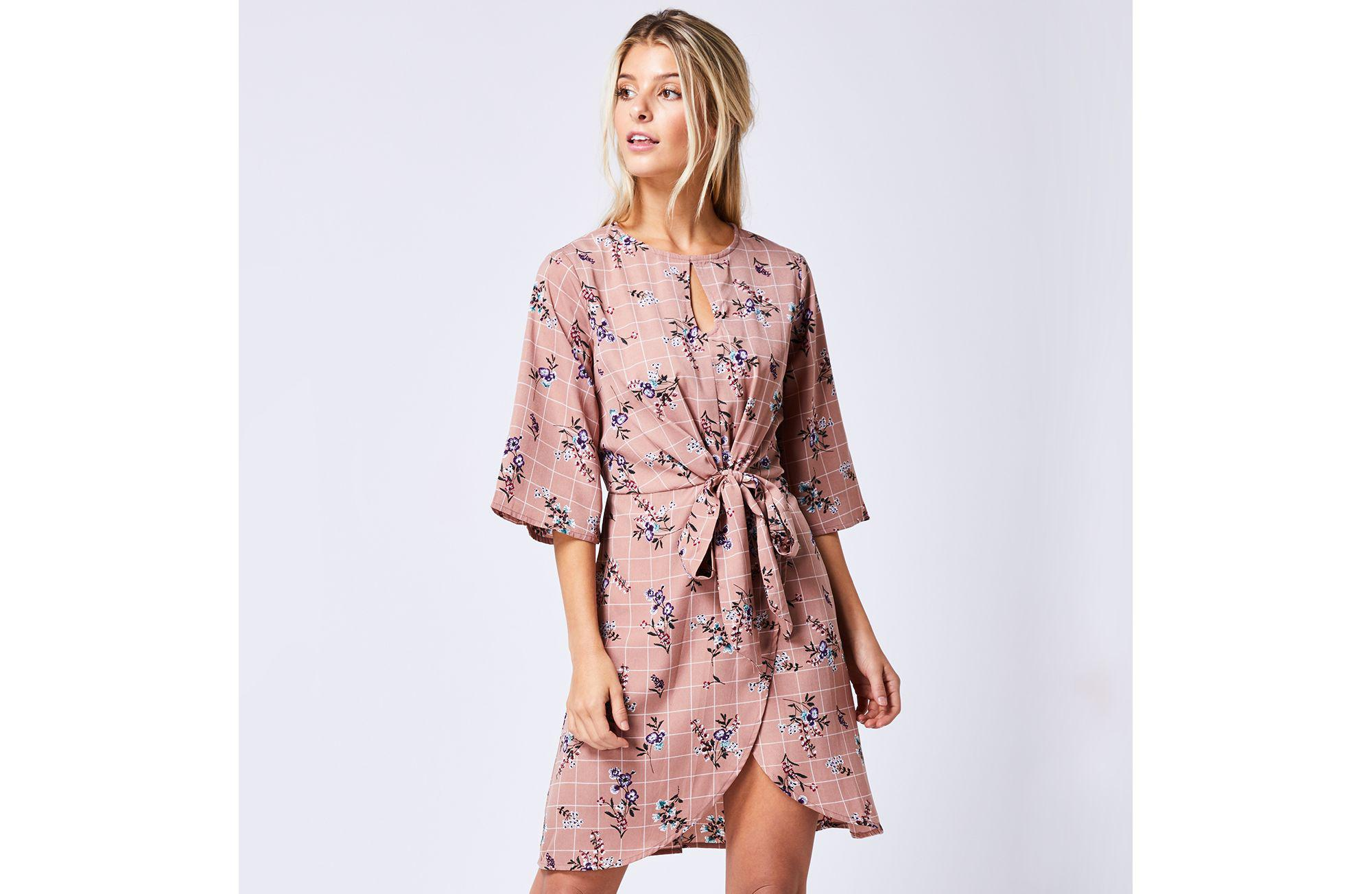 017e602fde08 Angeleye. Women's Nude Floaty Printed Floral Wrap Dress