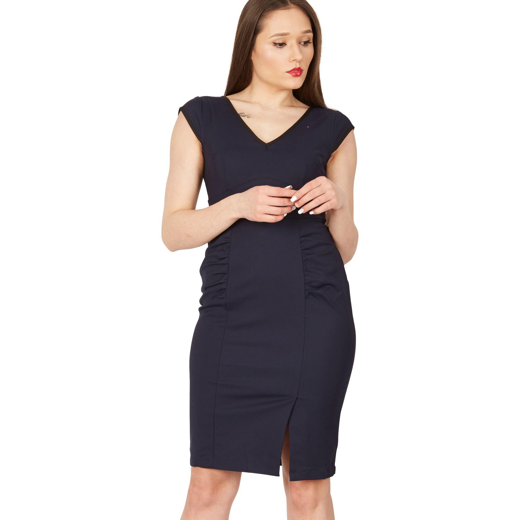 f8b2a62fda Jolie Moi Navy Trimmed V Neck Cap Sleeve Bodycon Dress in Blue - Lyst