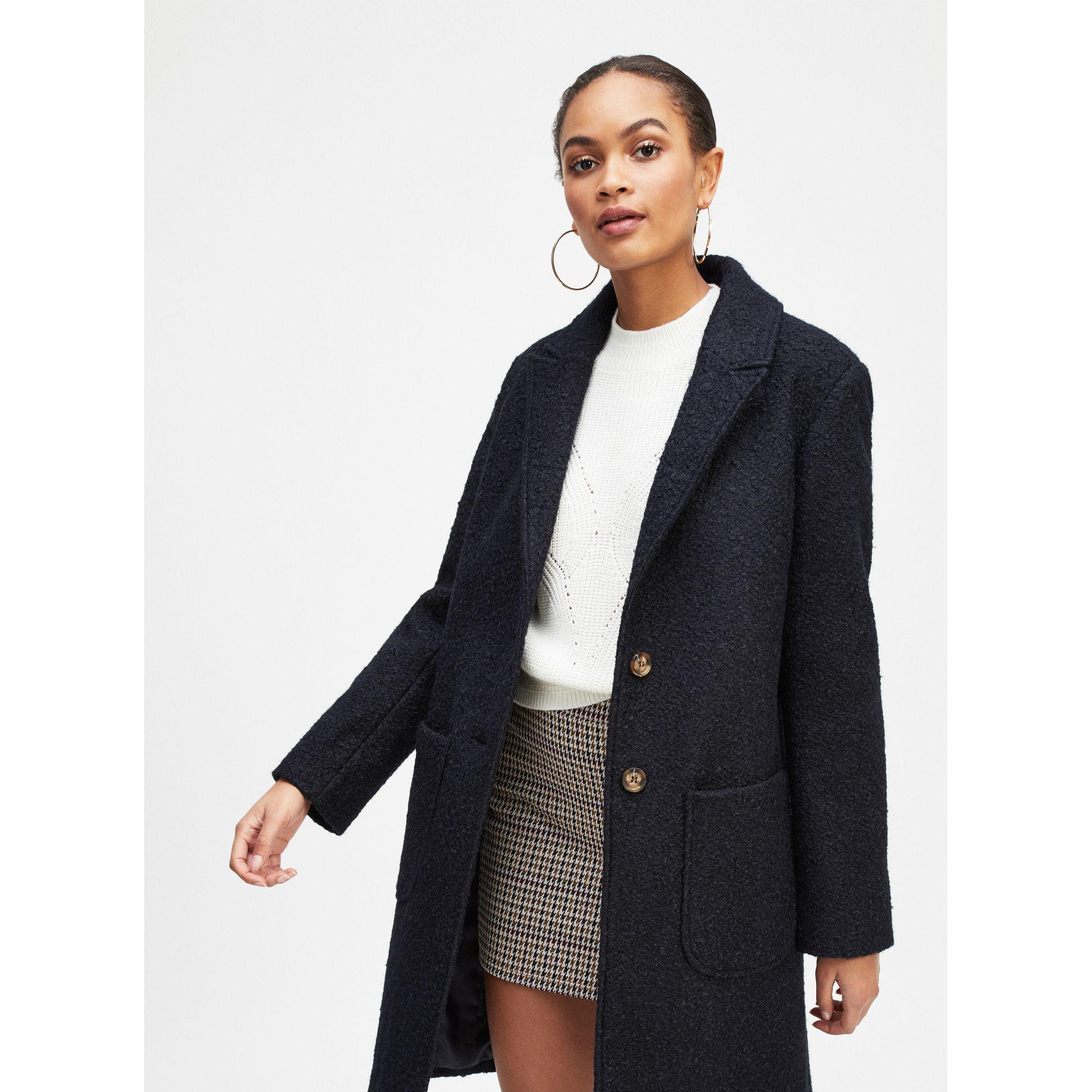3abd0452ea1 Miss Selfridge Navy Boucle Pocket Coat in Blue - Lyst