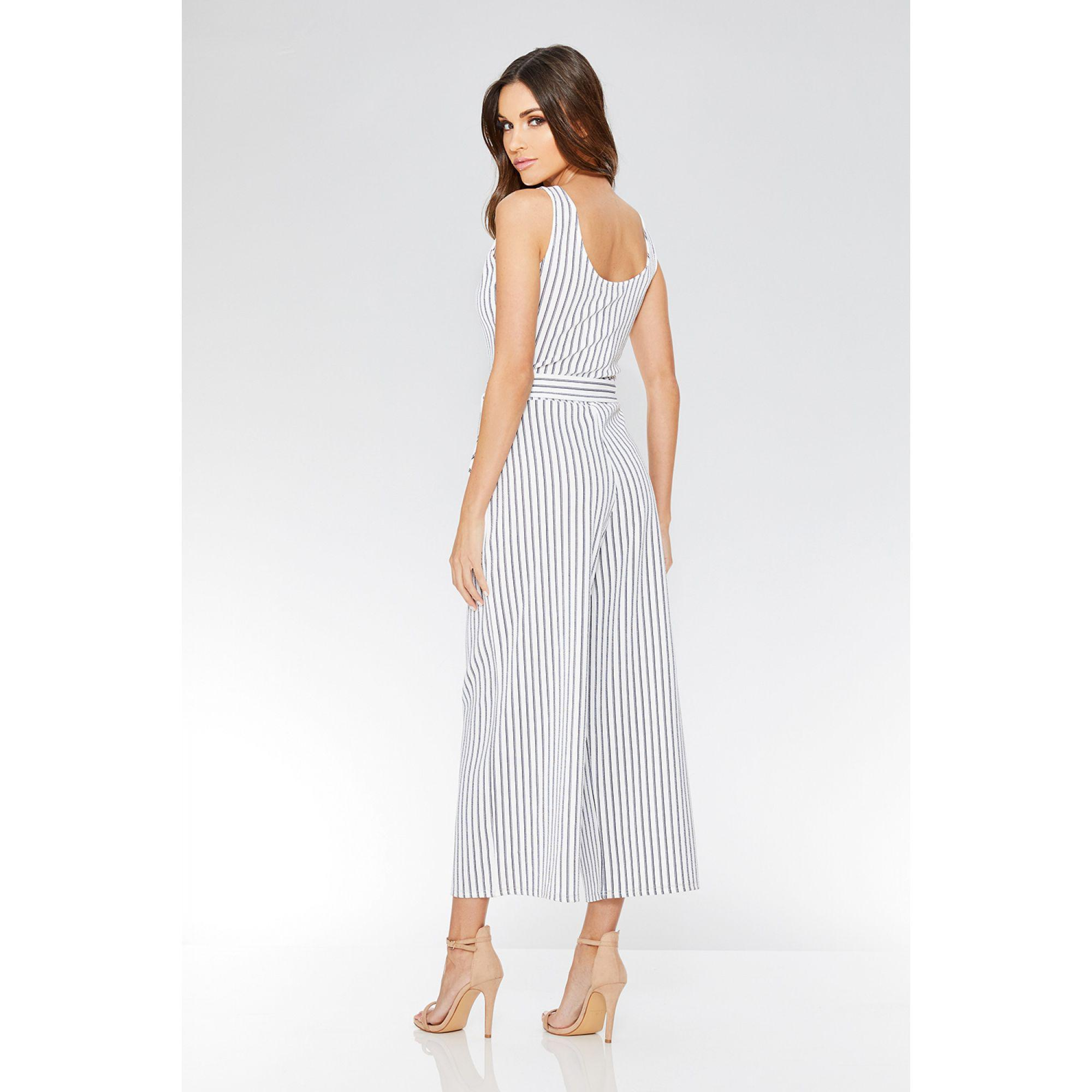 b80e3168d69 Quiz - White And Navy Stripe Tie Belt Jumpsuit - Lyst. View fullscreen