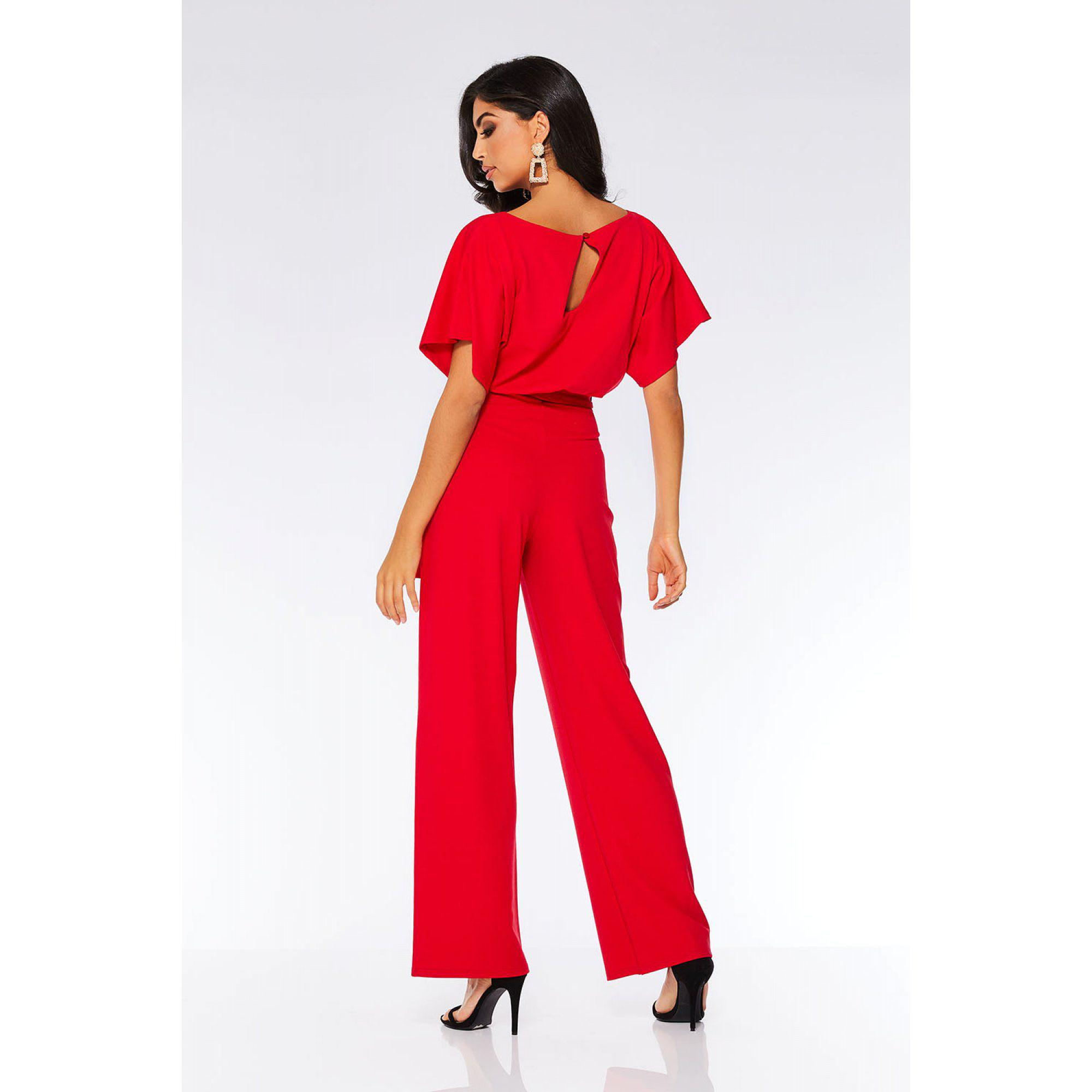 a5e27fab93 Quiz Red Batwing Belted Palazzo Jumpsuit in Red - Lyst