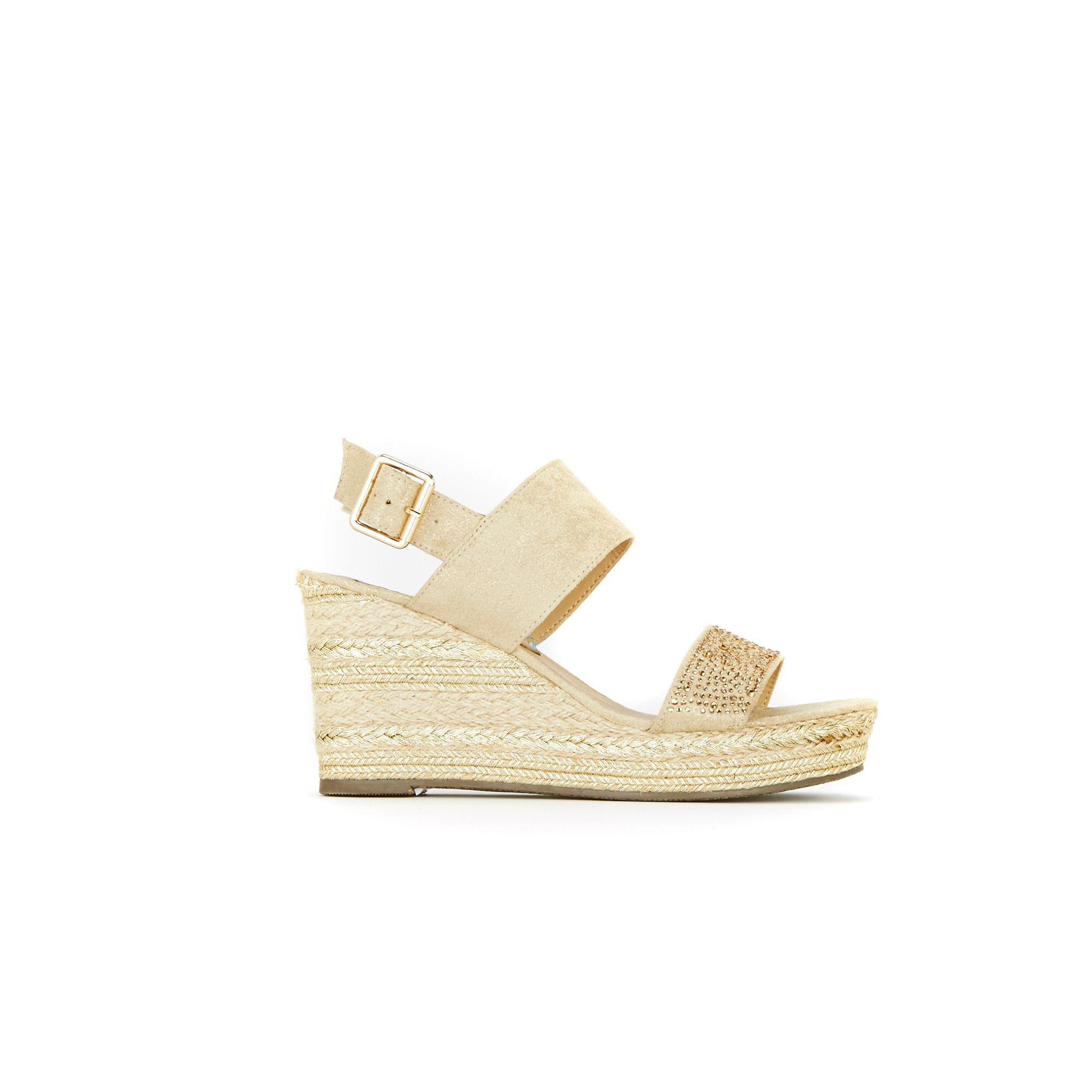 dc35d056e0c4 Wallis Gold Rope Trim Embellished Wedge Sandals in Metallic - Lyst