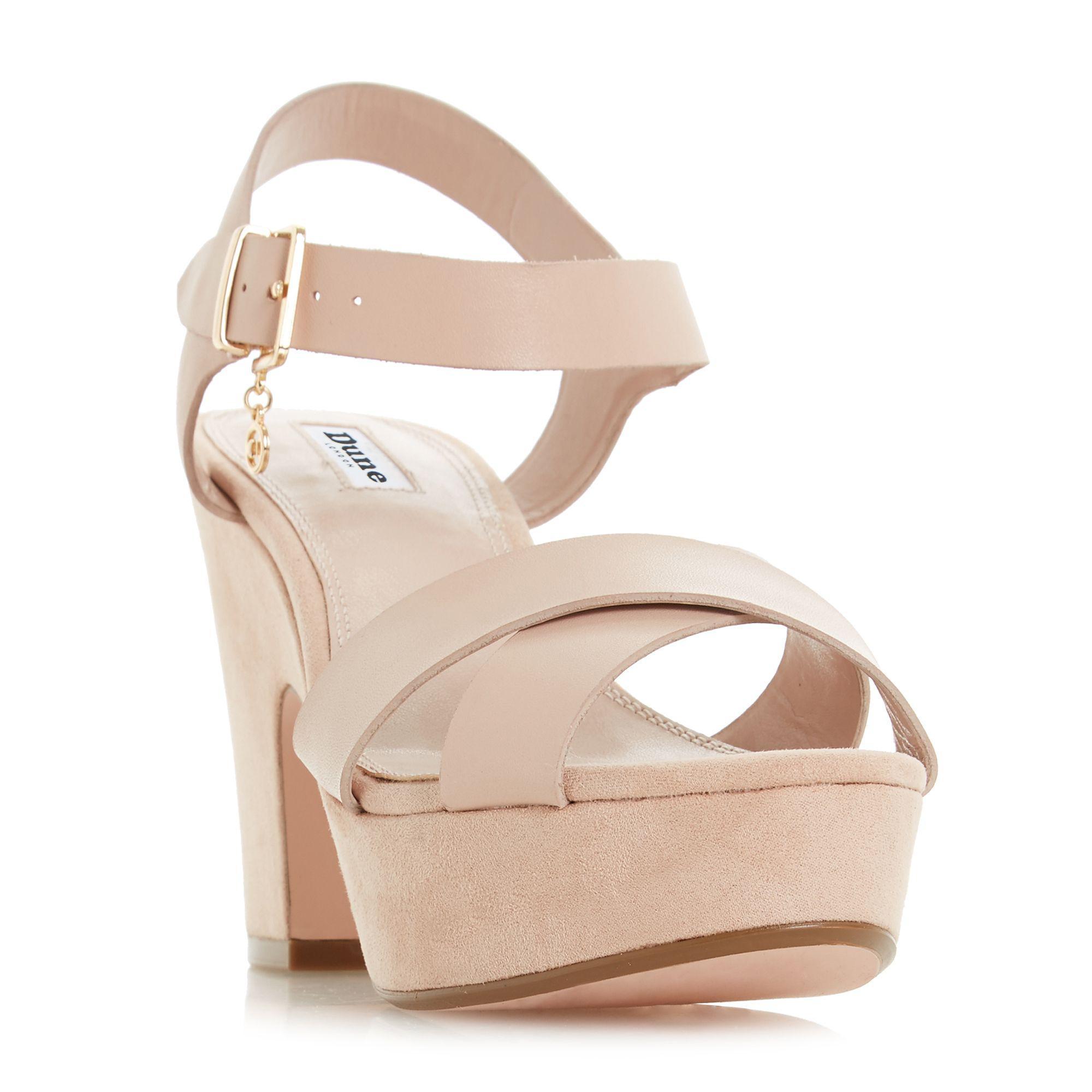 86b43e5b449 Dune - Light Pink Suede  iyla  High Block Heel Ankle Strap Sandals - Lyst.  View fullscreen