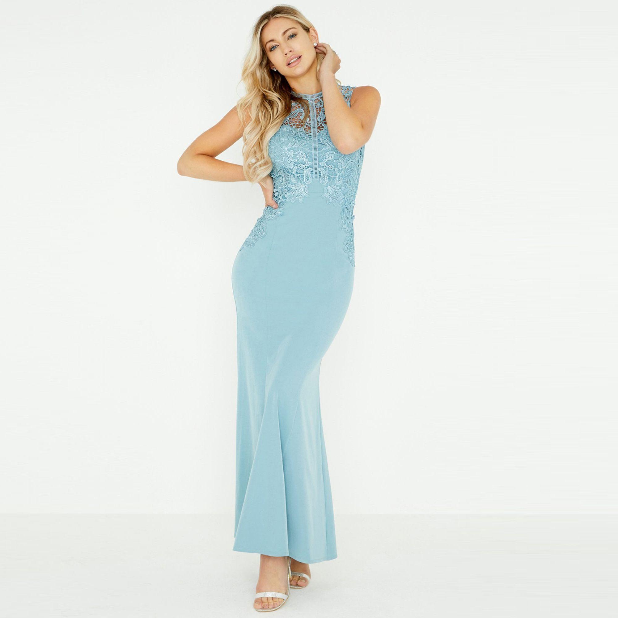 54c24bfd5ec Little Mistress Blue Lizzy Blue Crochet Lace Maxi Dress in Blue - Lyst