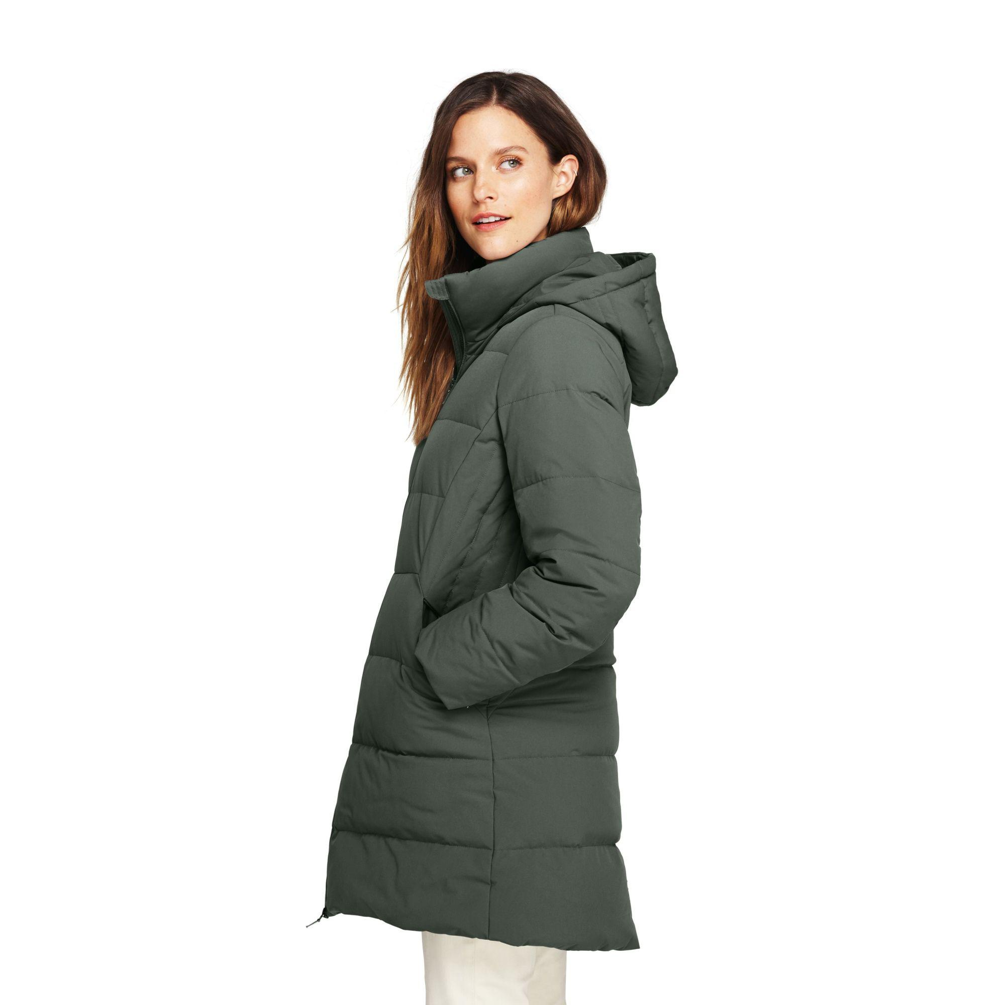 f6ec43f49 Lands' End Green Faux Fur Hooded And Lined Down Coat With Stretch in ...