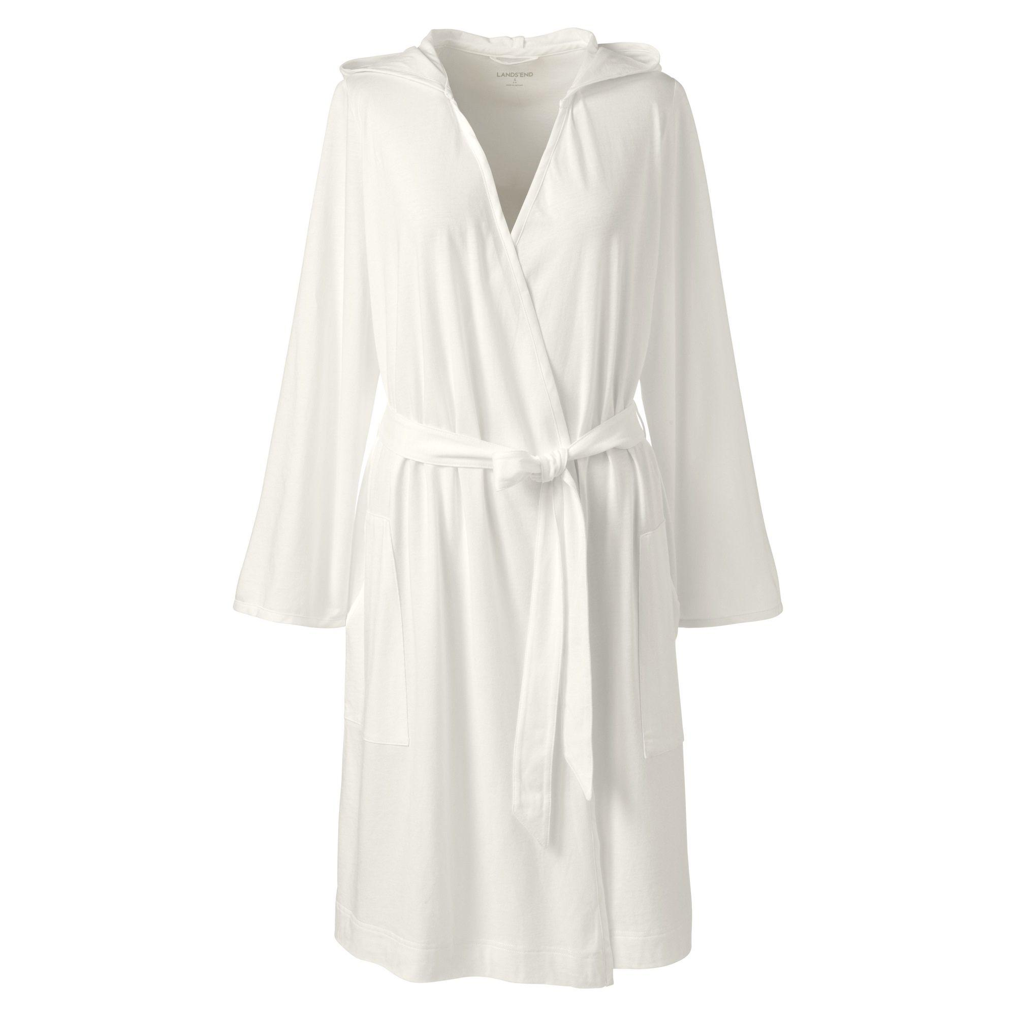 Lands  End Cream Hooded Knee Length Dressing Gown in White - Lyst 8e7db90cc