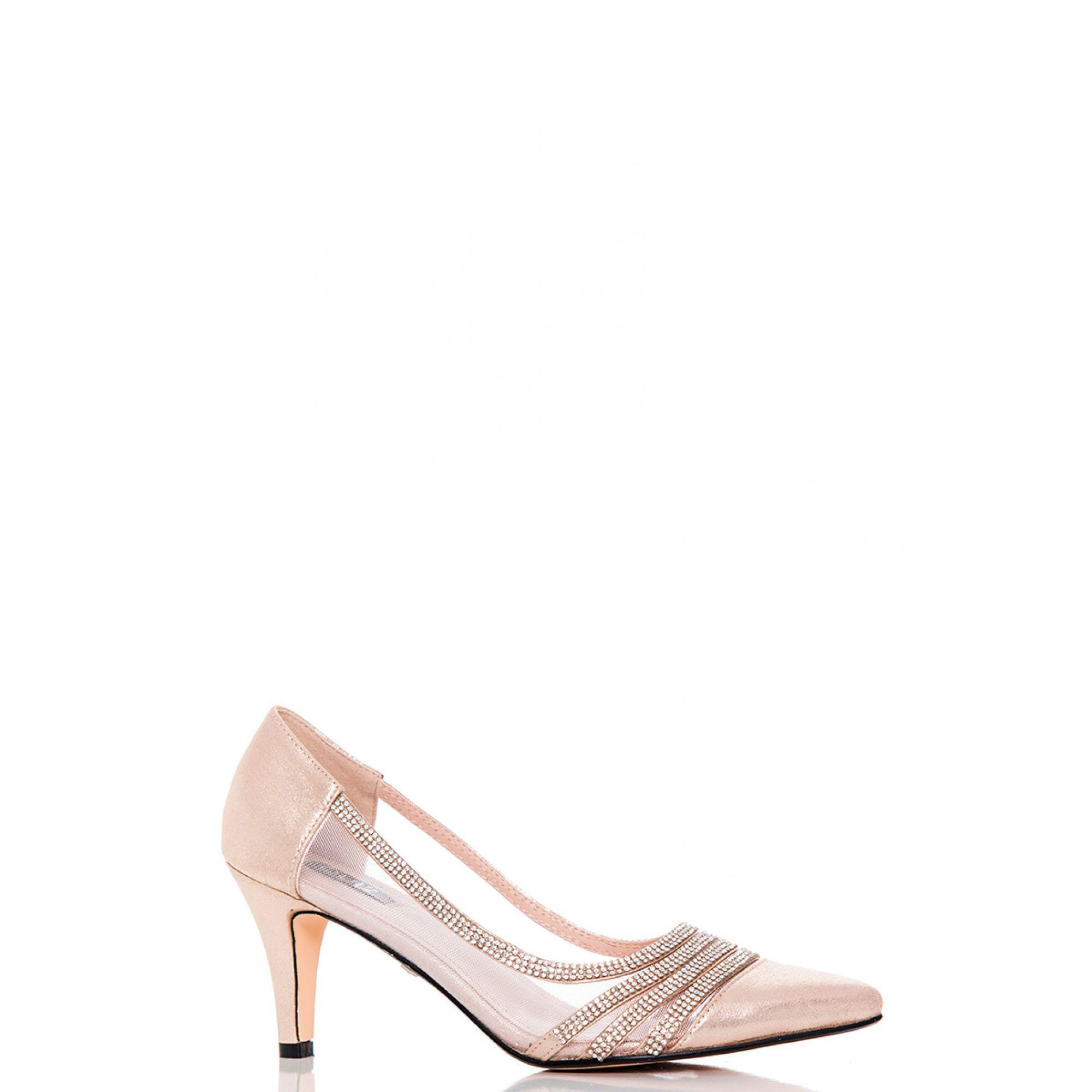 ad1d527a269c6 Quiz. Women s Metallic Gold Shimmer Diamante And Mesh Low Heel Court Shoes