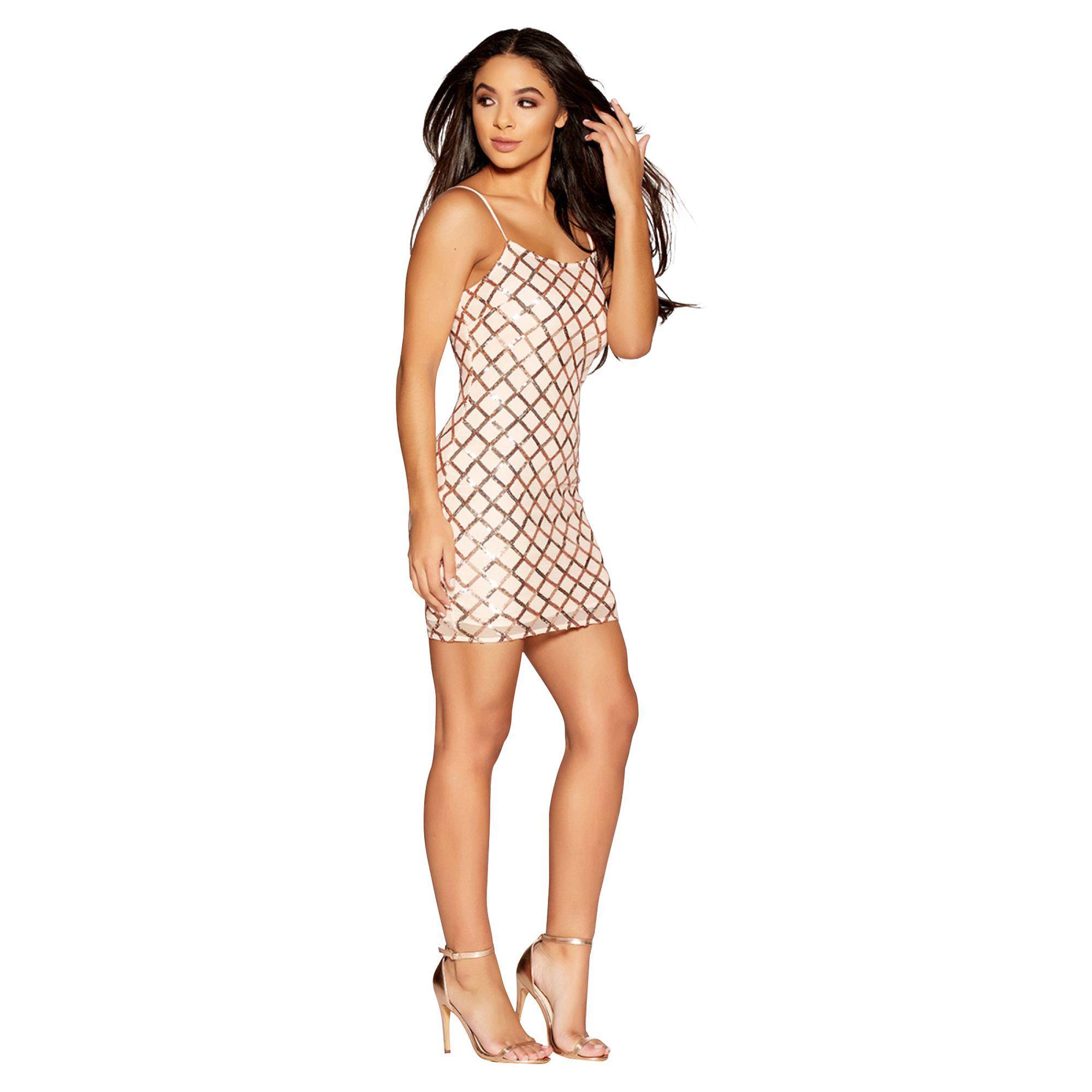 f486bce1d Quiz Gabbyàs Nude And Rose Gold Stretch Sequin Short Dress - Lyst