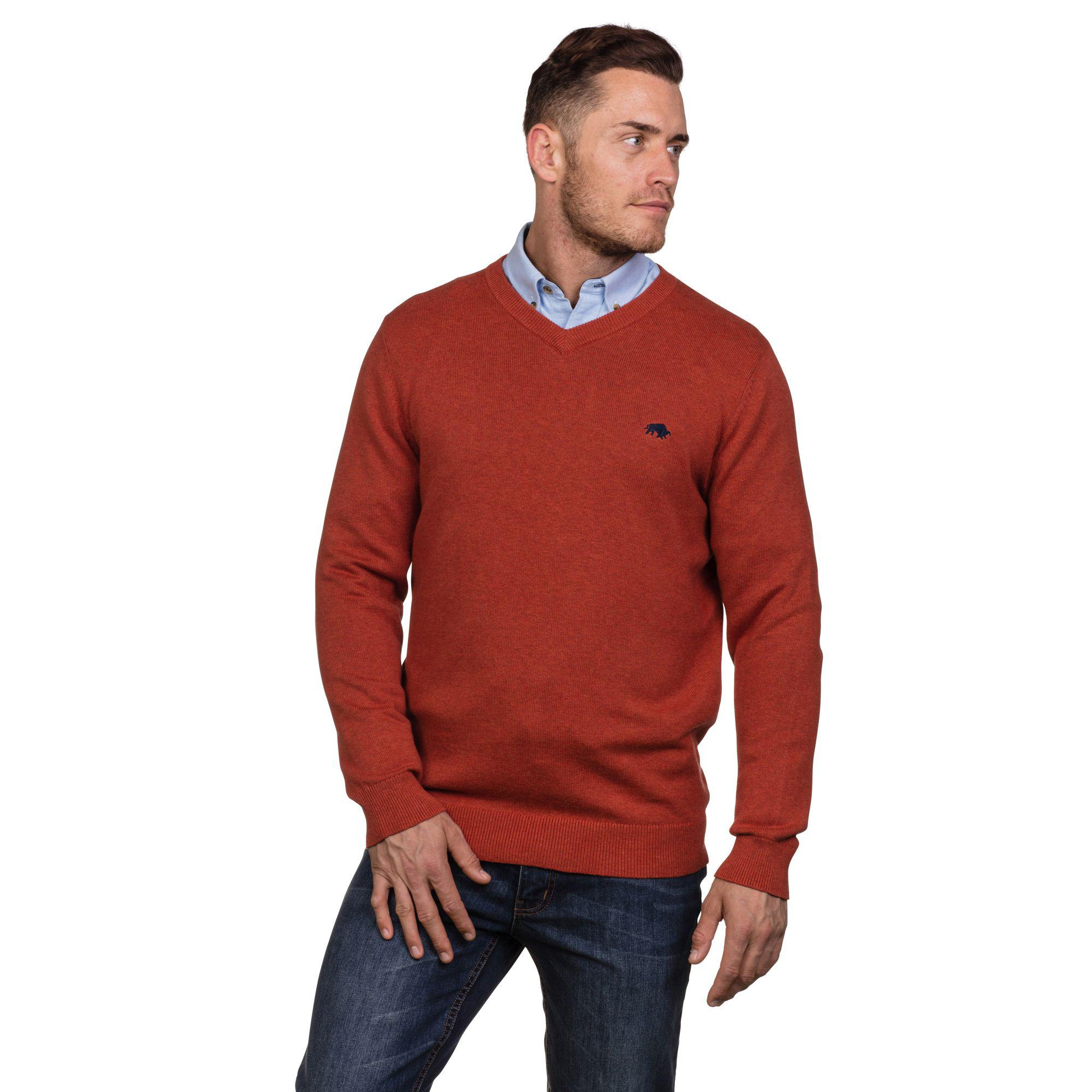 f8b04054c61567 Raging Bull - Orange V-neck Cotton And Cashmere Sweater for Men - Lyst.  View fullscreen