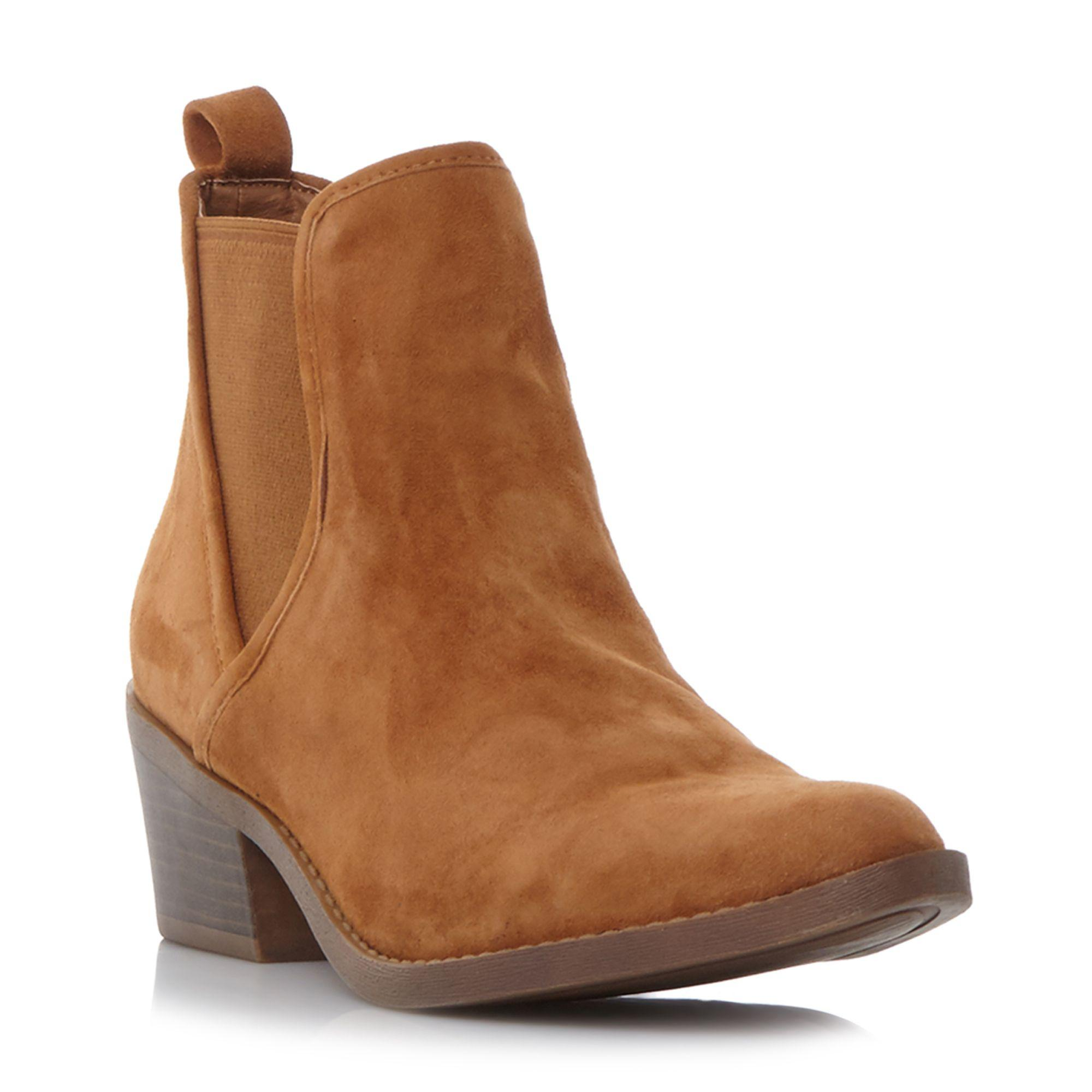 81e1c205b31 Steve Madden Tan Suedetalor Mid Block Heel Ankle Boots in Brown - Lyst