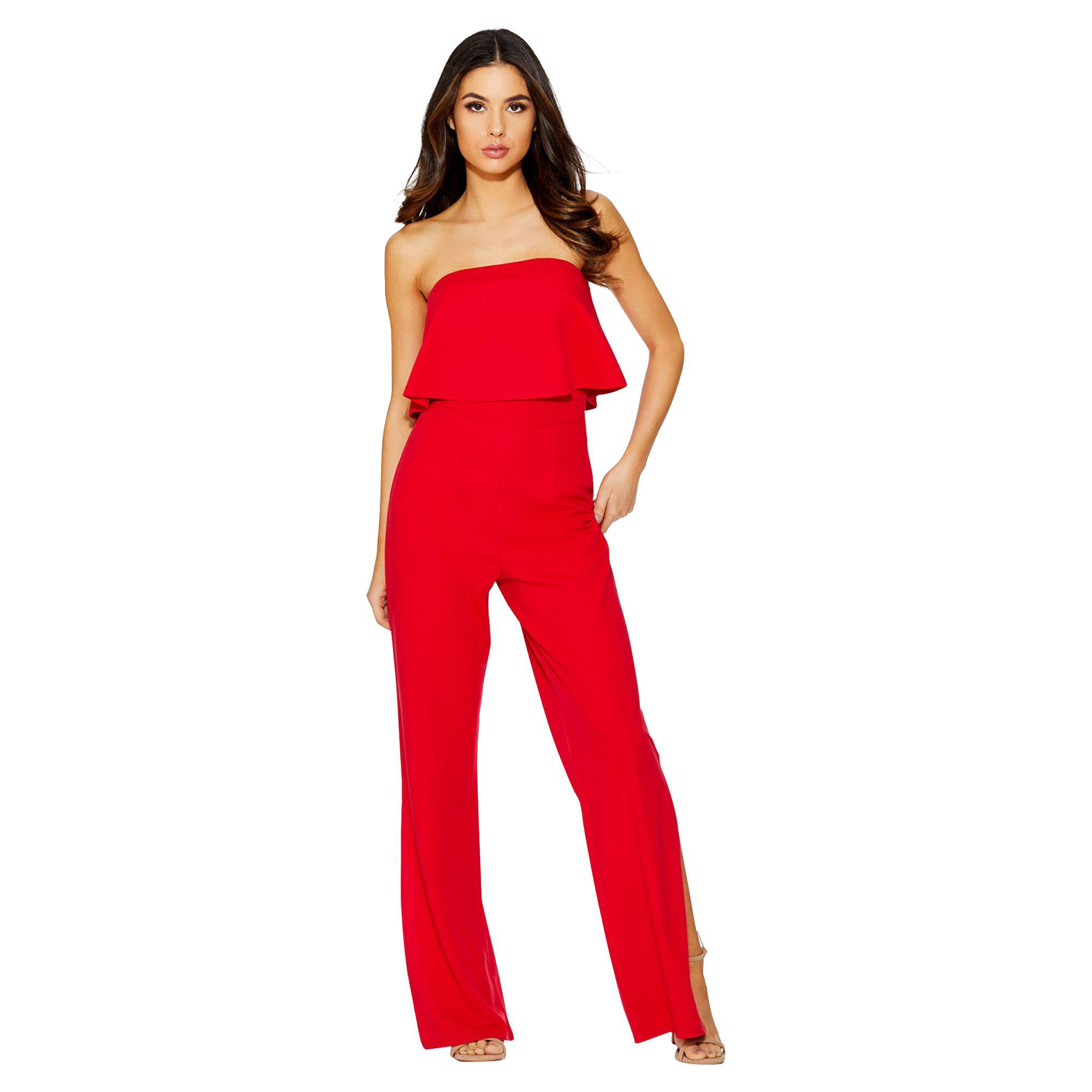33a491ae87fe Quiz Red Strapless Palazzo Jumpsuit in Red - Lyst