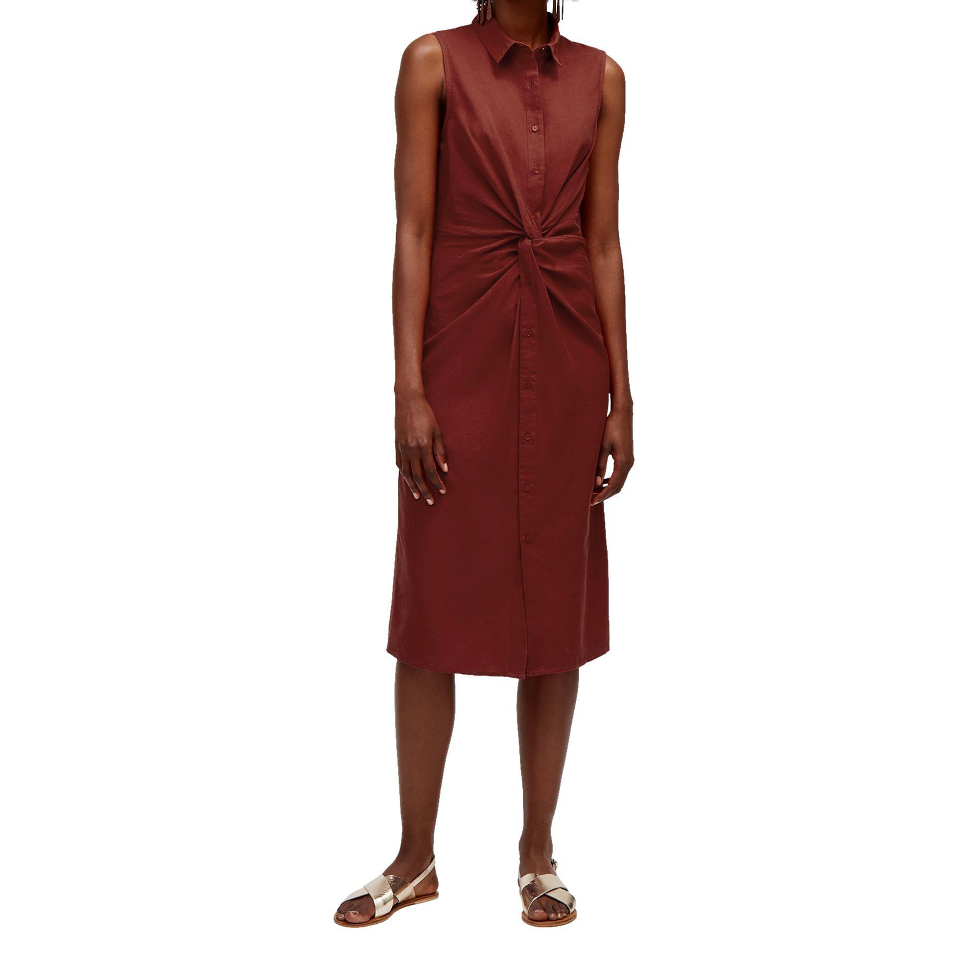 90e7f9fd69e Warehouse Linen Twist Shirt Dress in Orange - Lyst