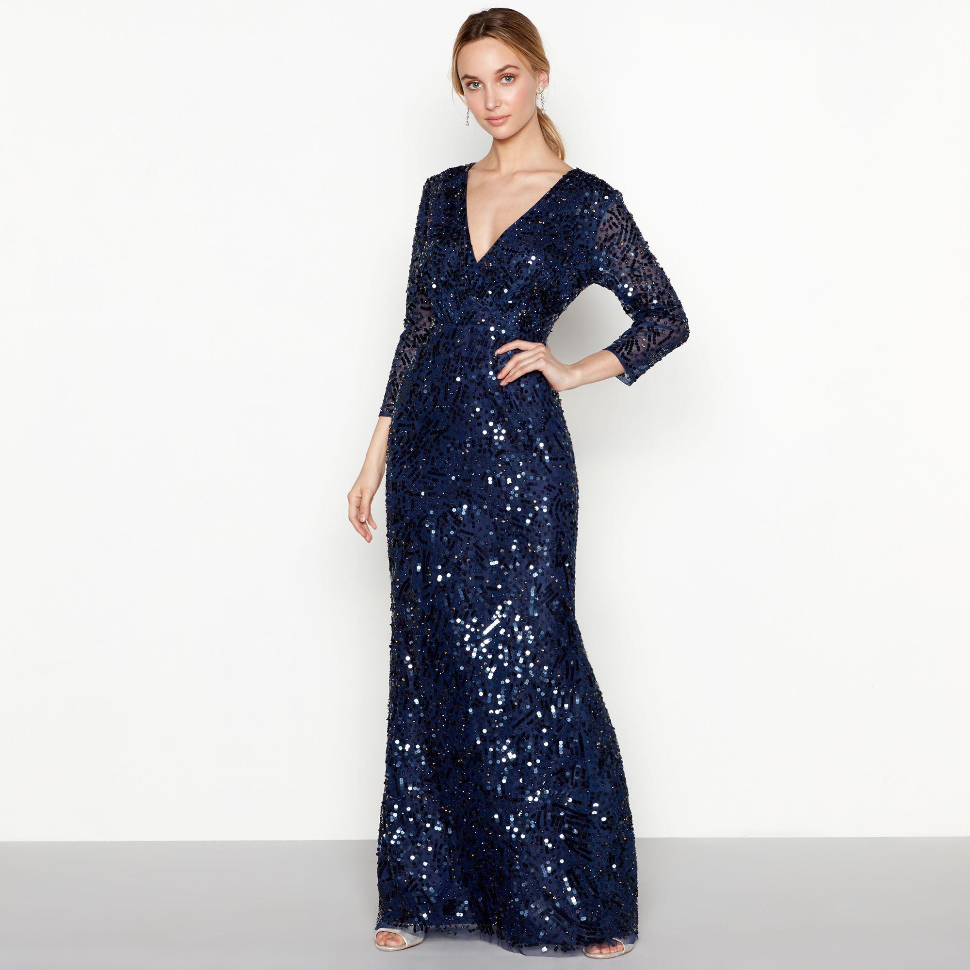 Jenny Packham Navy Sequin \'luella\' V-neck Long Sleeve Evening Dress ...