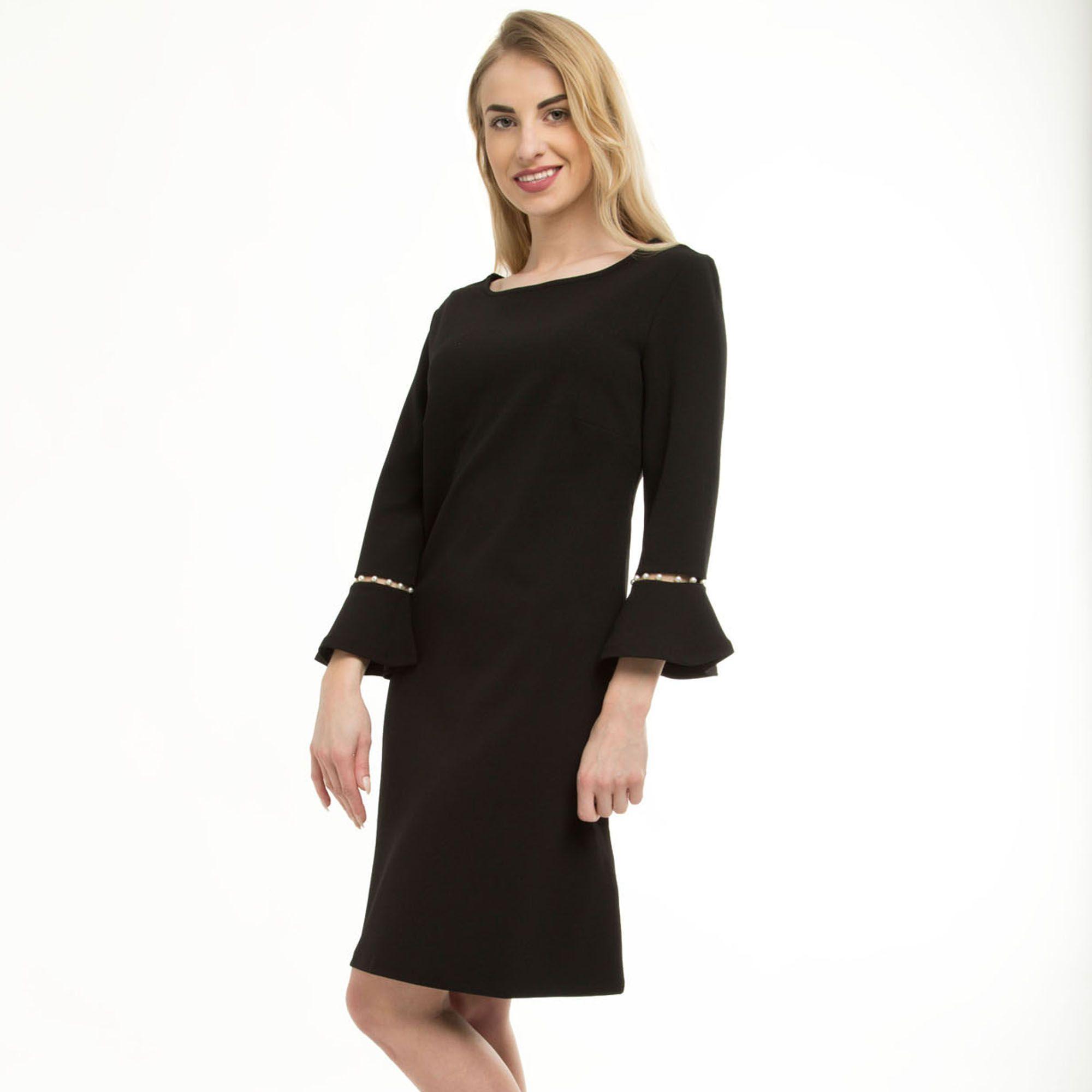 ec20b6d3a87b Anna Field Black Pearl Valance Sleeve Dress in Black - Lyst