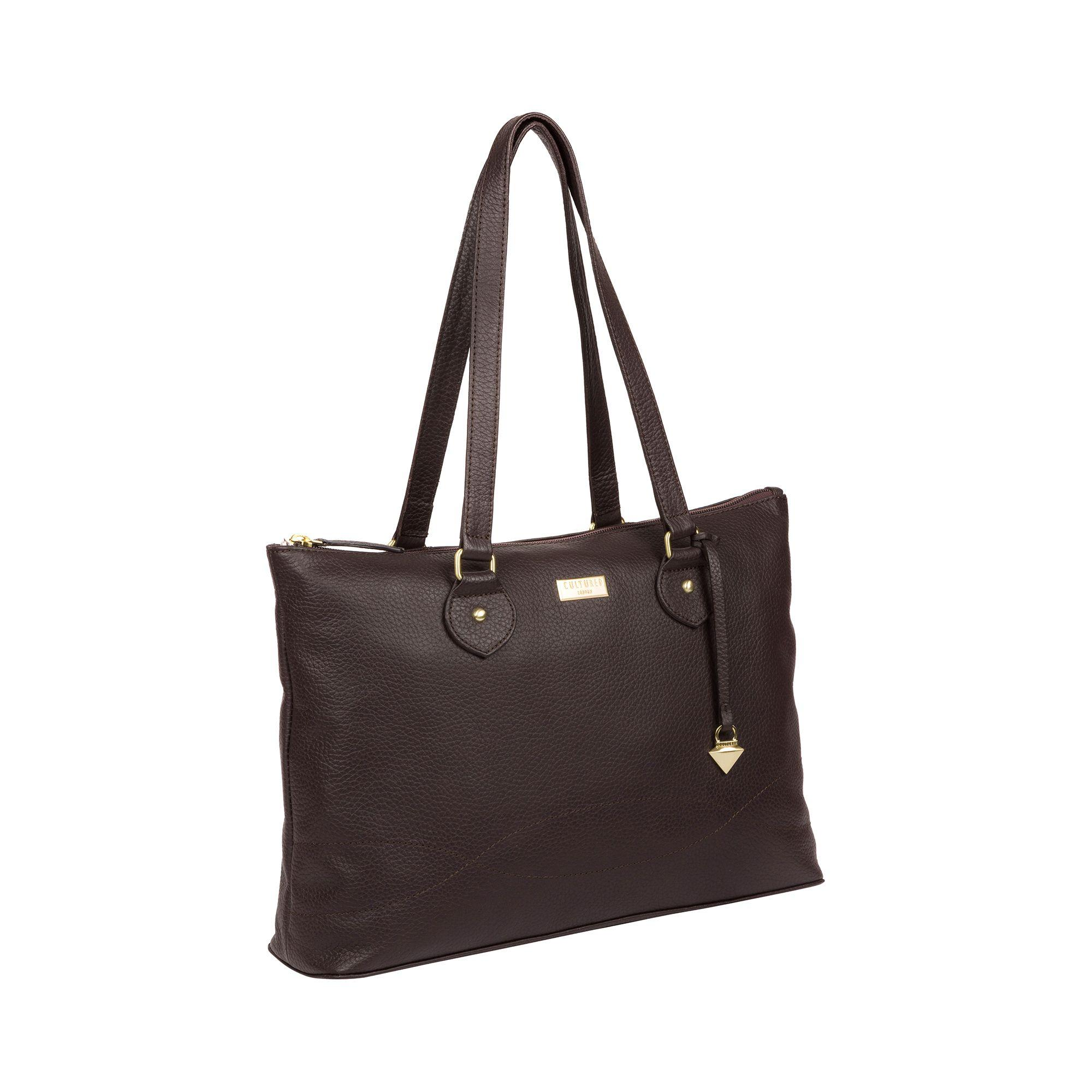 0d127bdd263 Cultured London Dark Chocolate 'pippa' Leather Tote Bag in Brown ...